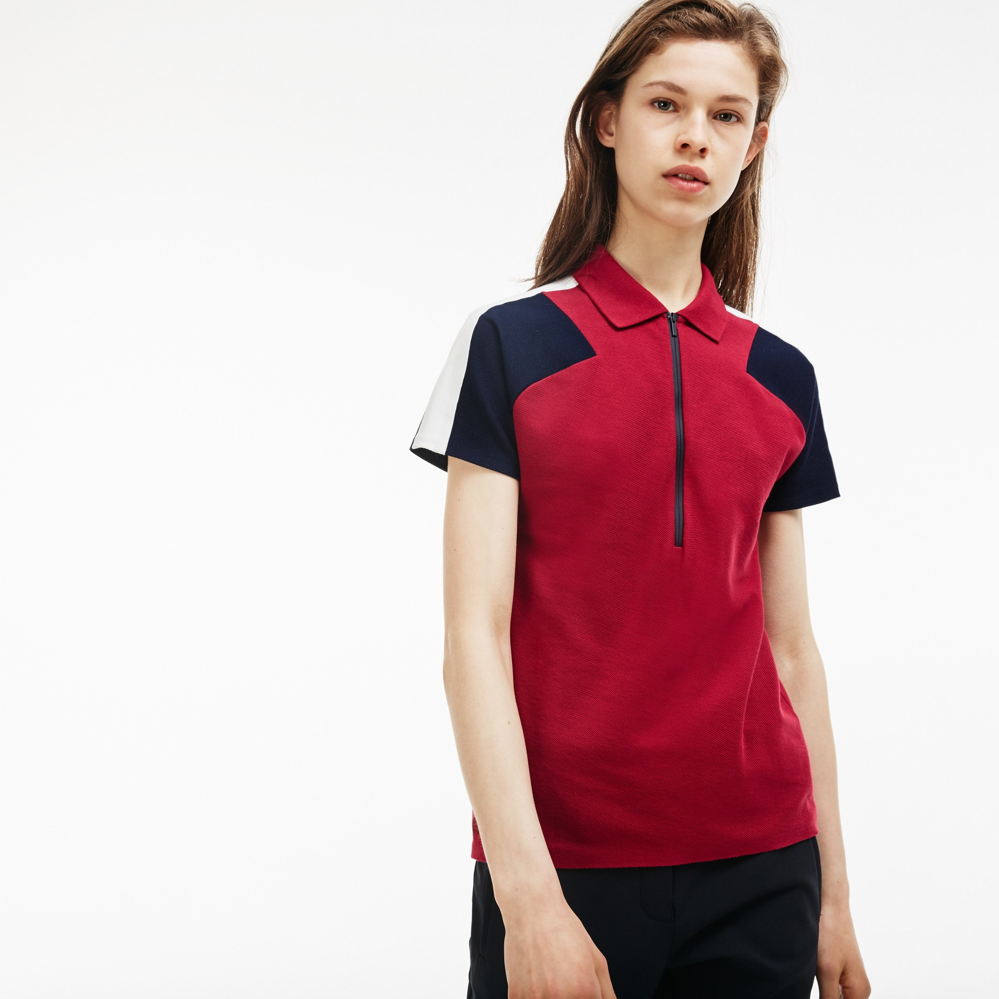 Polo slim fit dotata di collo con zip Lacoste Made in France in piqué color block