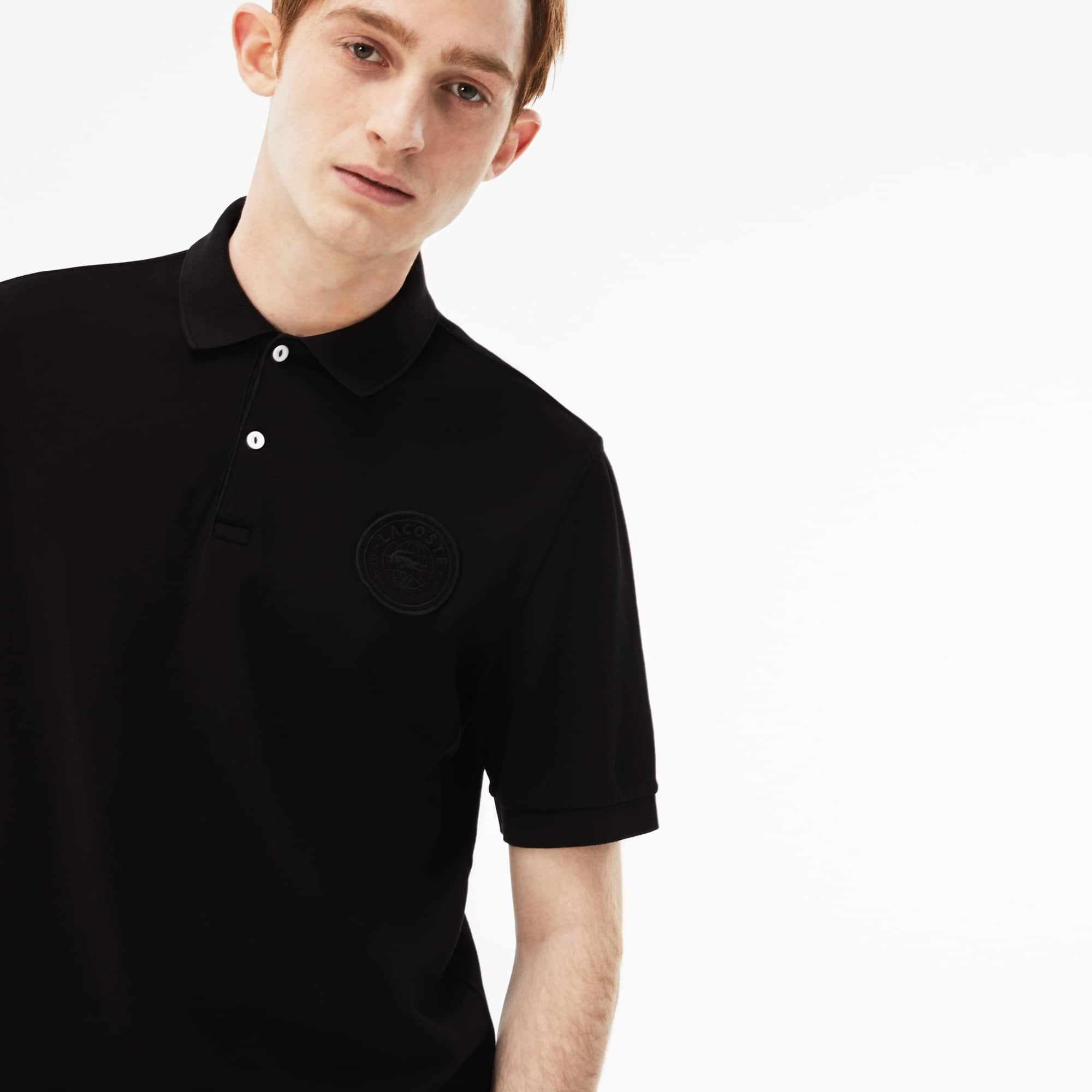 Polo regular fit Lacoste LIVE in petit piqué délavé con badge