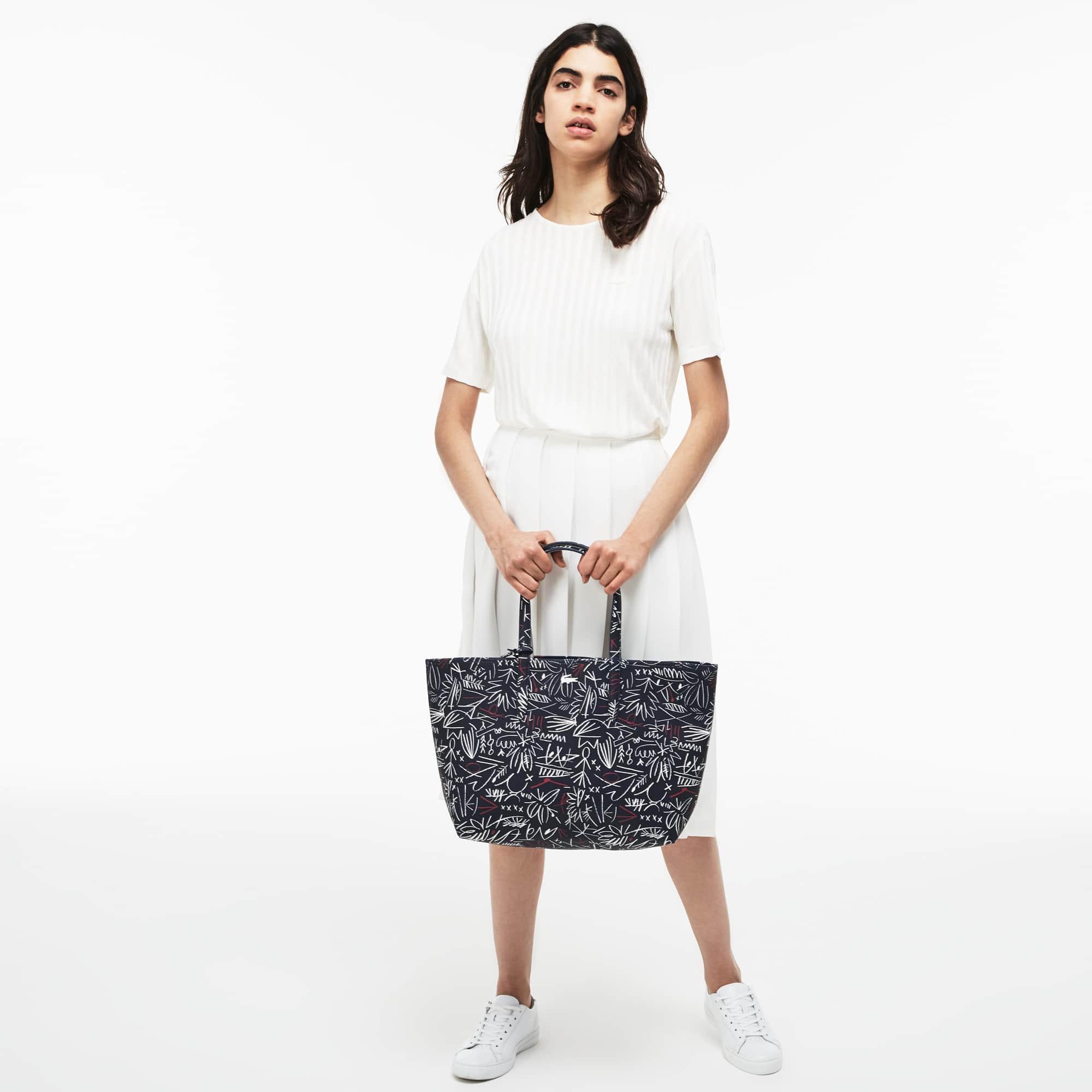 Shopping bag Anna reversibile bicolore con stampa egiziana