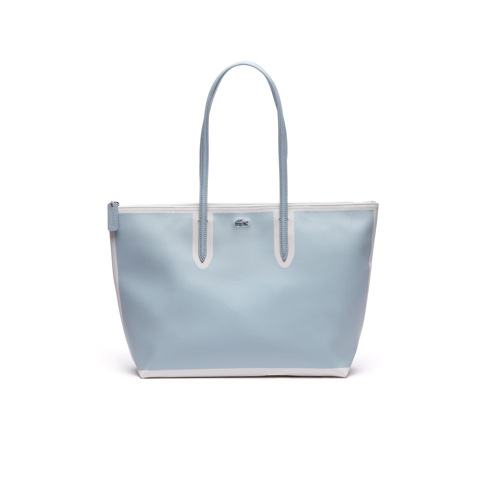 Shopping bag grande con zip L.12.12 Concept in petit piqué color block