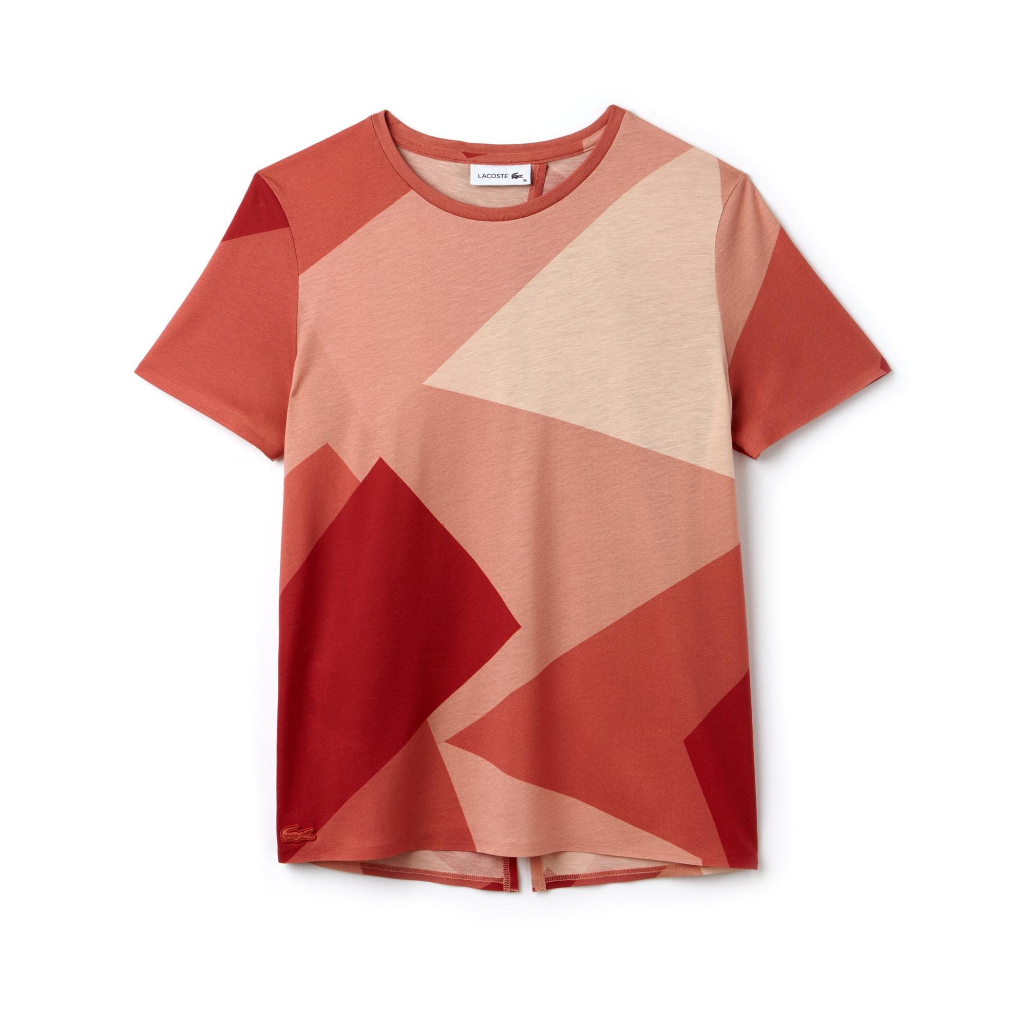 T-shirt a girocollo in jersey stampato con apertura sul dorso