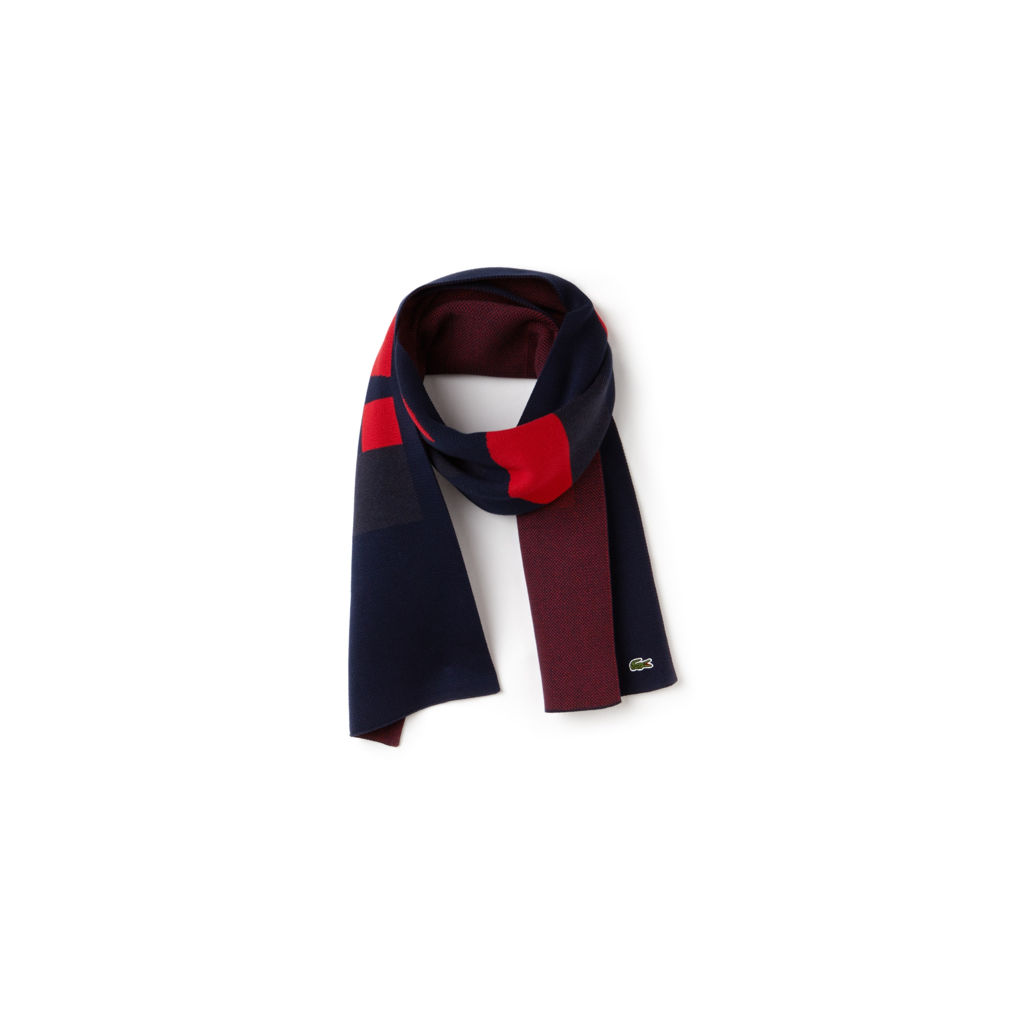 Sciarpa in jacquard con marchio Lacoste color block