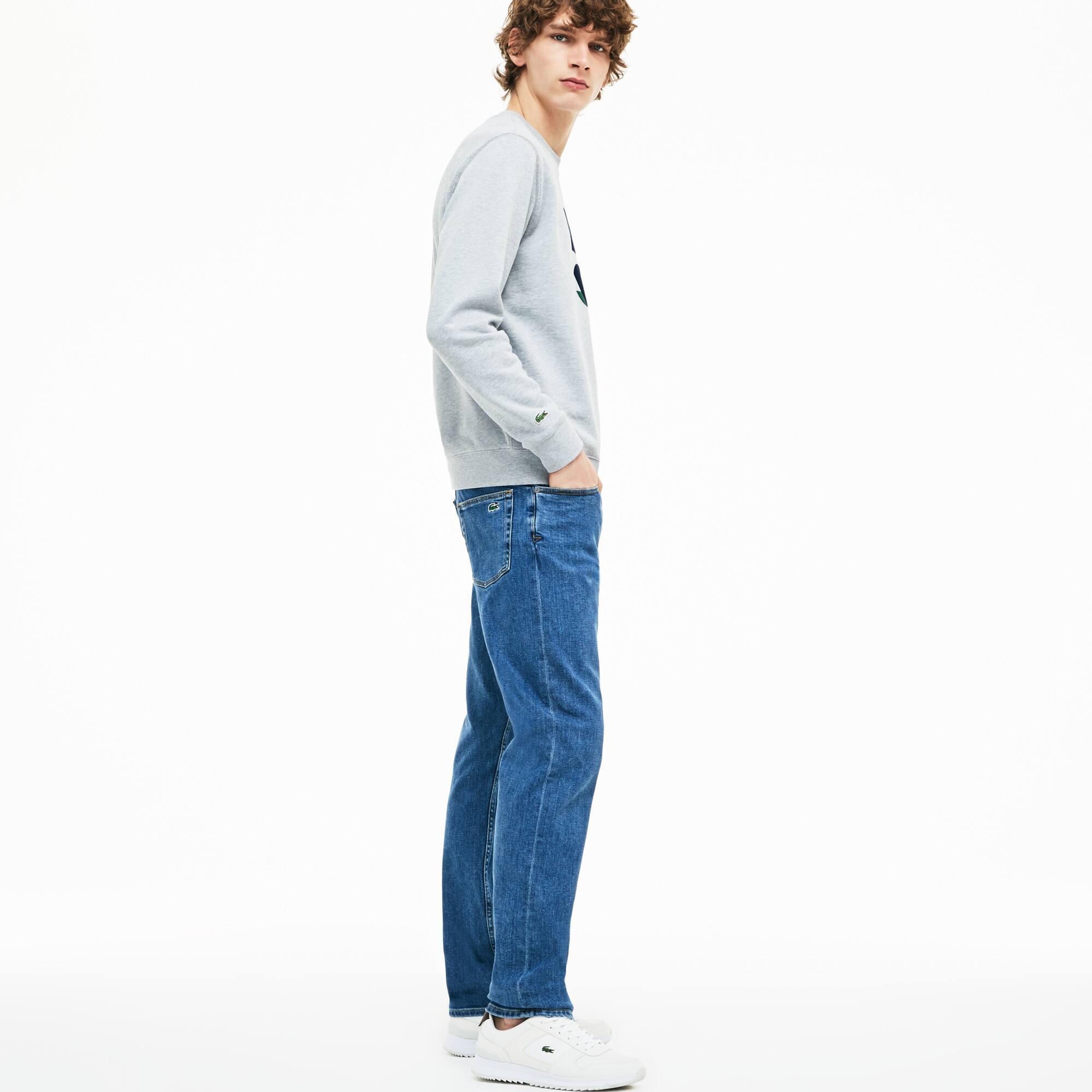 Jeans 5 tasche slim fit in denim di cotone stretch