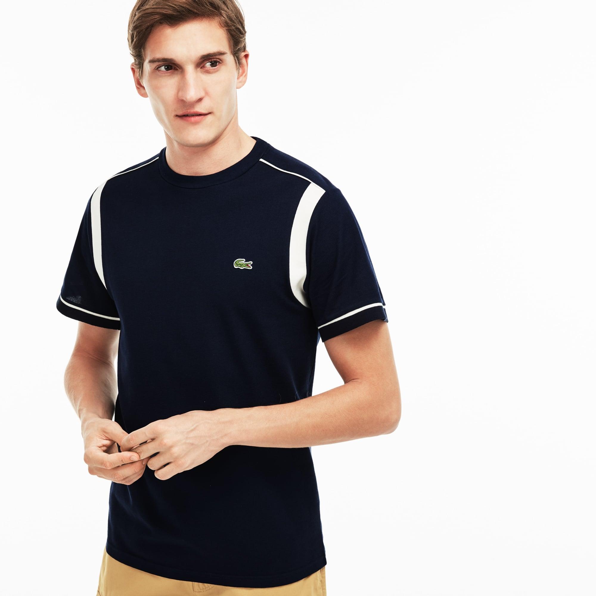 T-shirt a girocollo in maglia quadra di cotone con fasce a contrasto