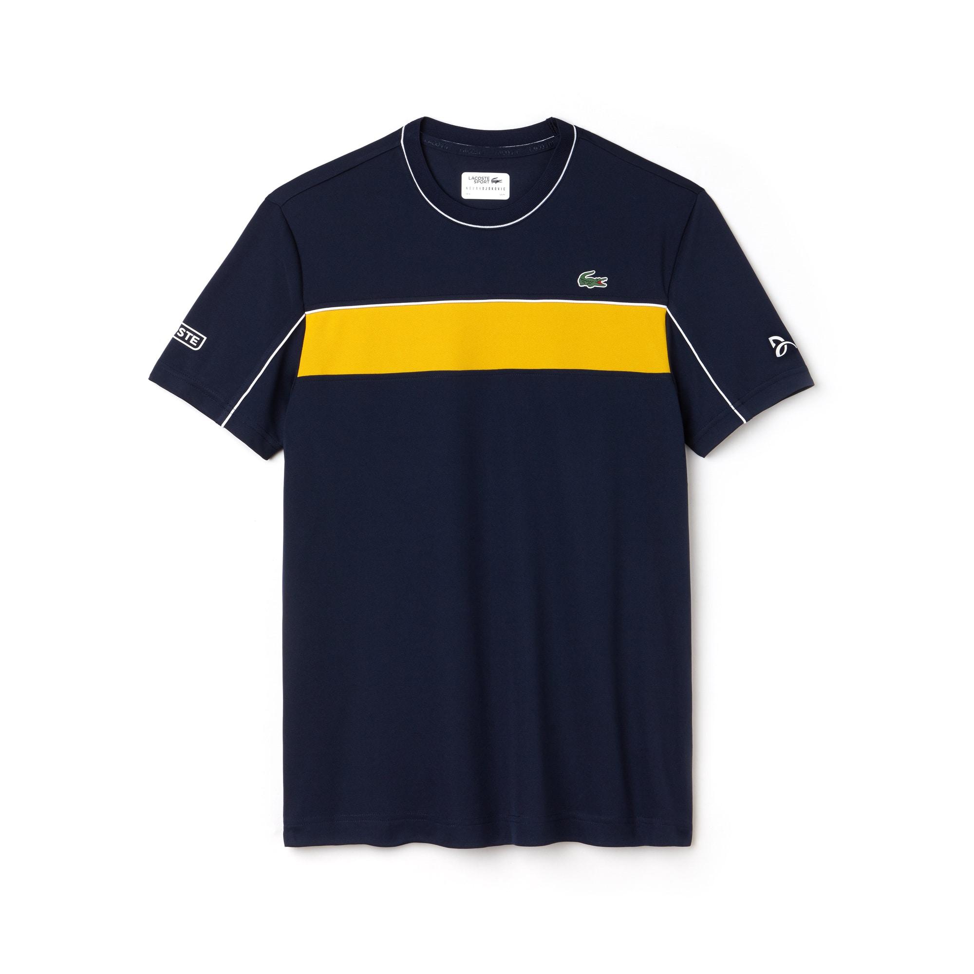 T-shirt LACOSTE SPORT COLLEZIONE NOVAK DJOKOVIC in piqué tecnico color block