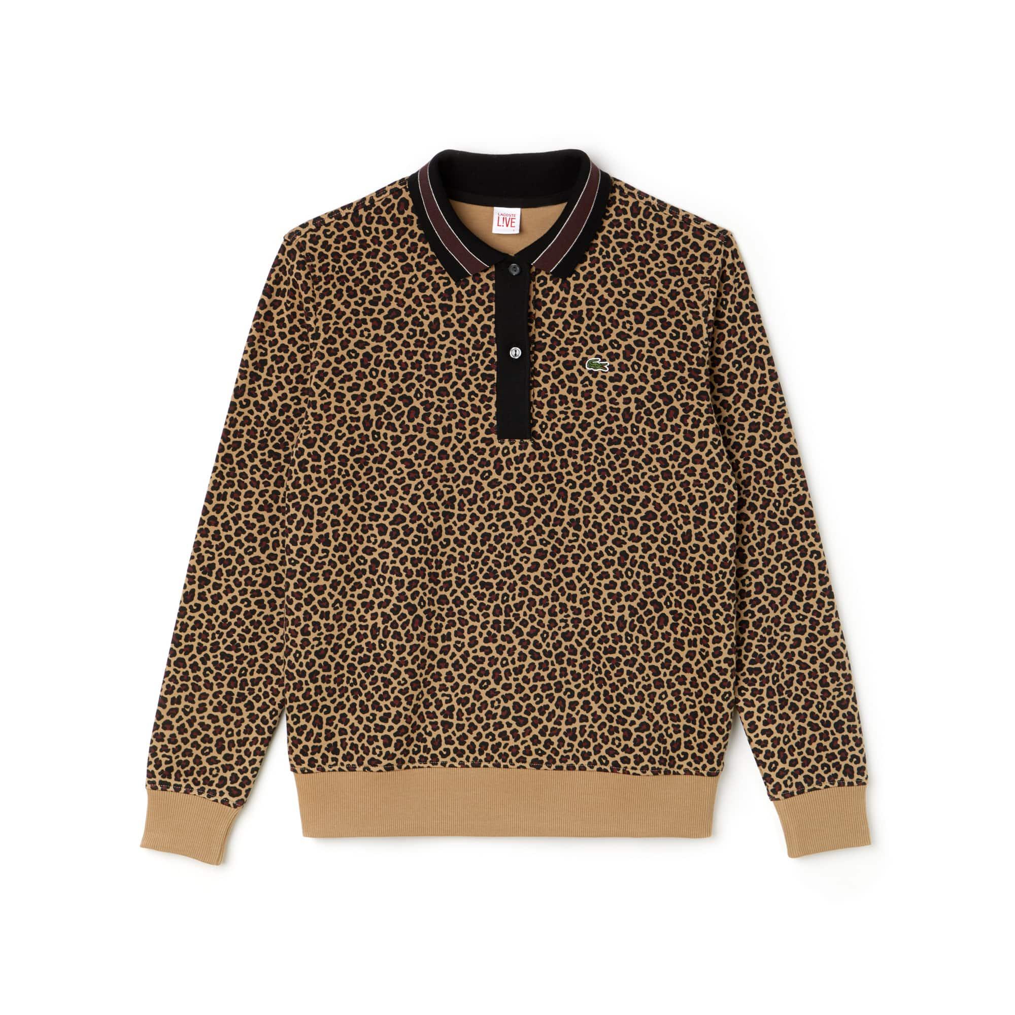 Polo boxy fit Lacoste LIVE in cotone interlock con stampa leopardo