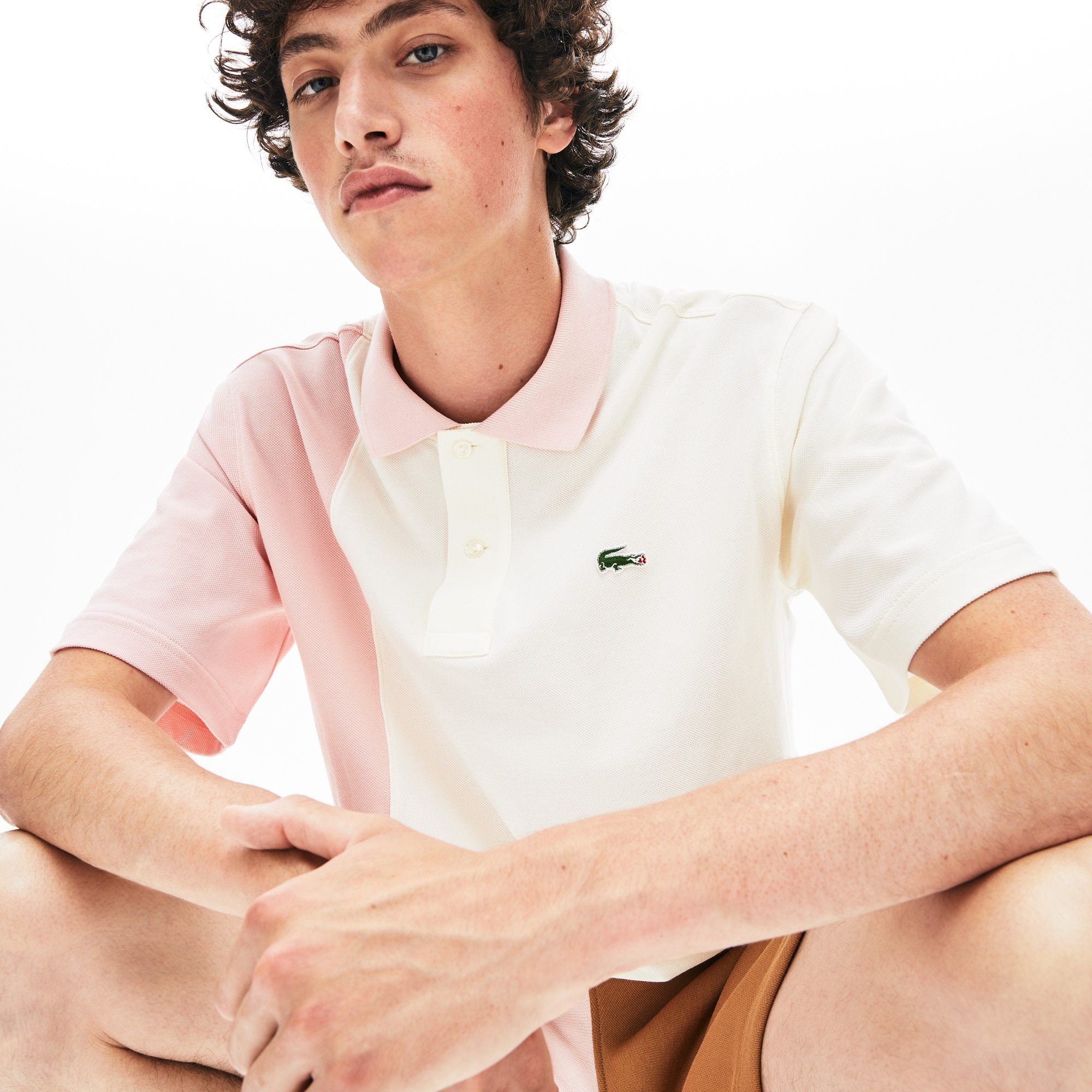 Polo unisex in piqué color block loose fit Lacoste LIVE x GOLF le FLEUR