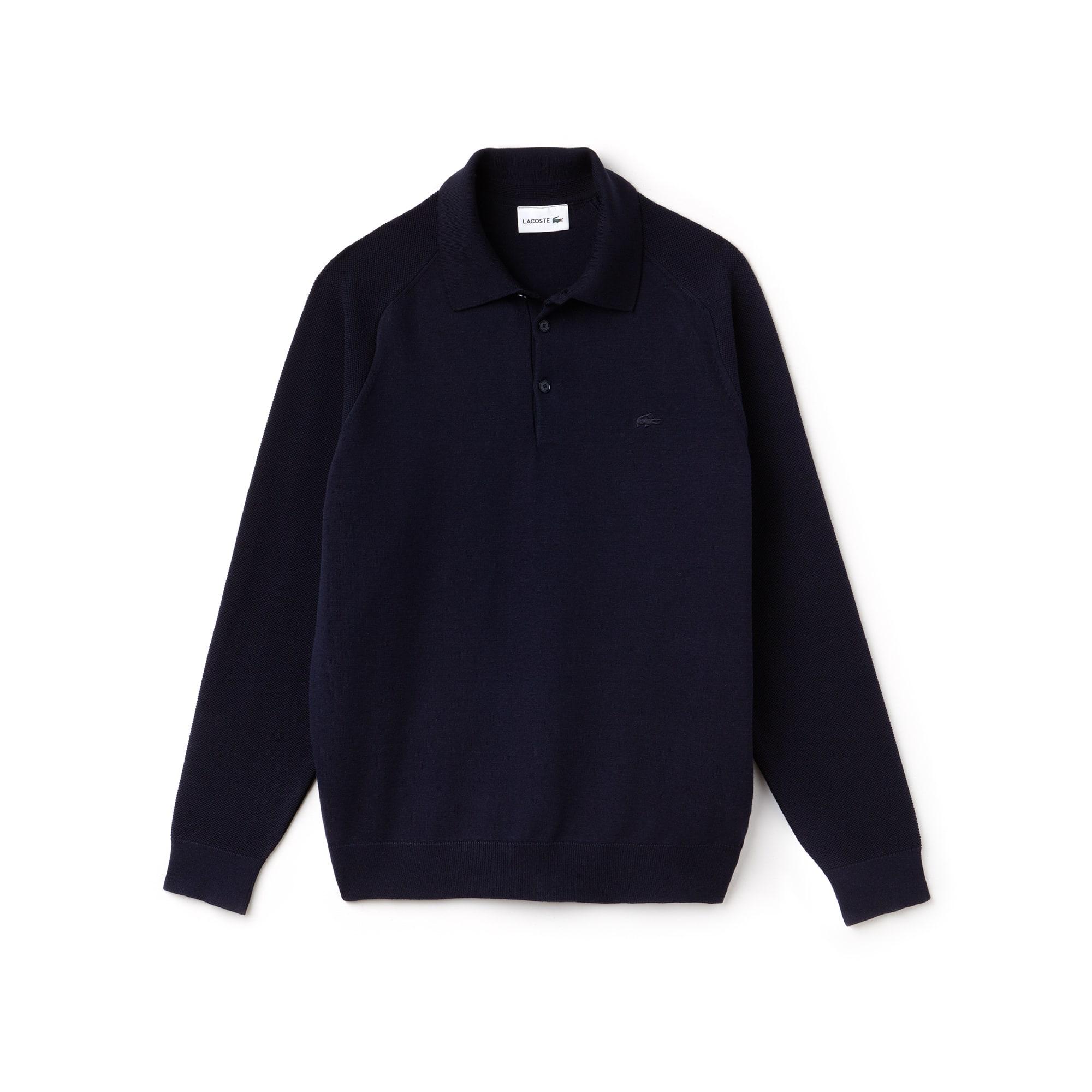 Pullover con collo a polo in maglia tecnica con maniche a contrasto