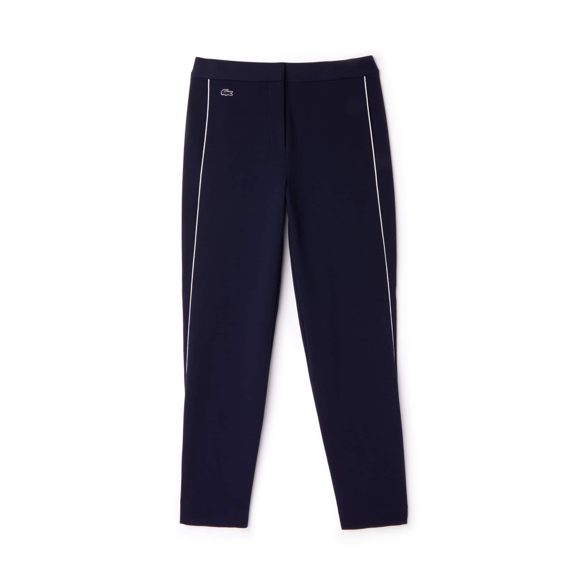 Pantaloni a carota in crêpe di cotone interlock con bordino