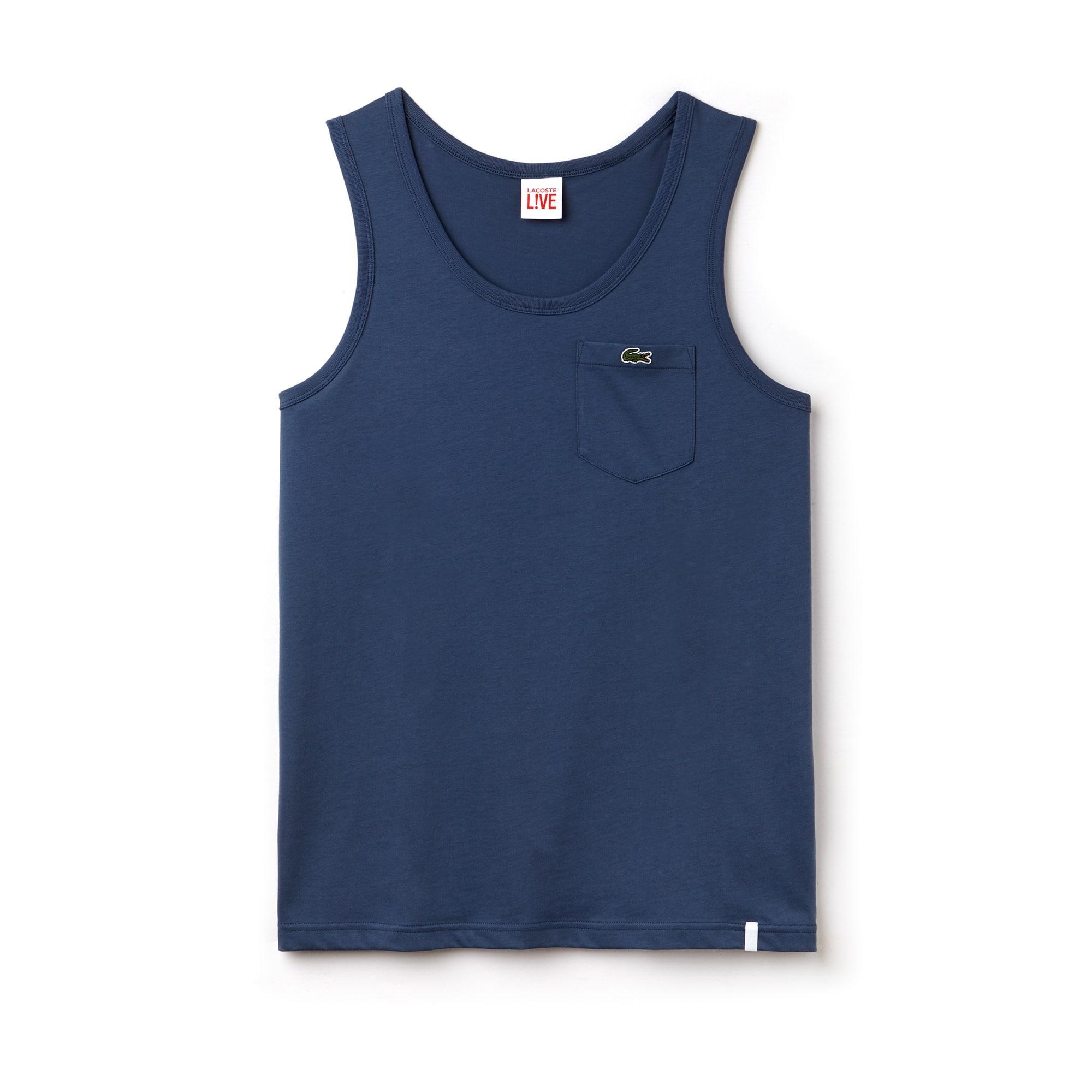 Canotta Lacoste LIVE in jersey di cotone tinta unita con taschino