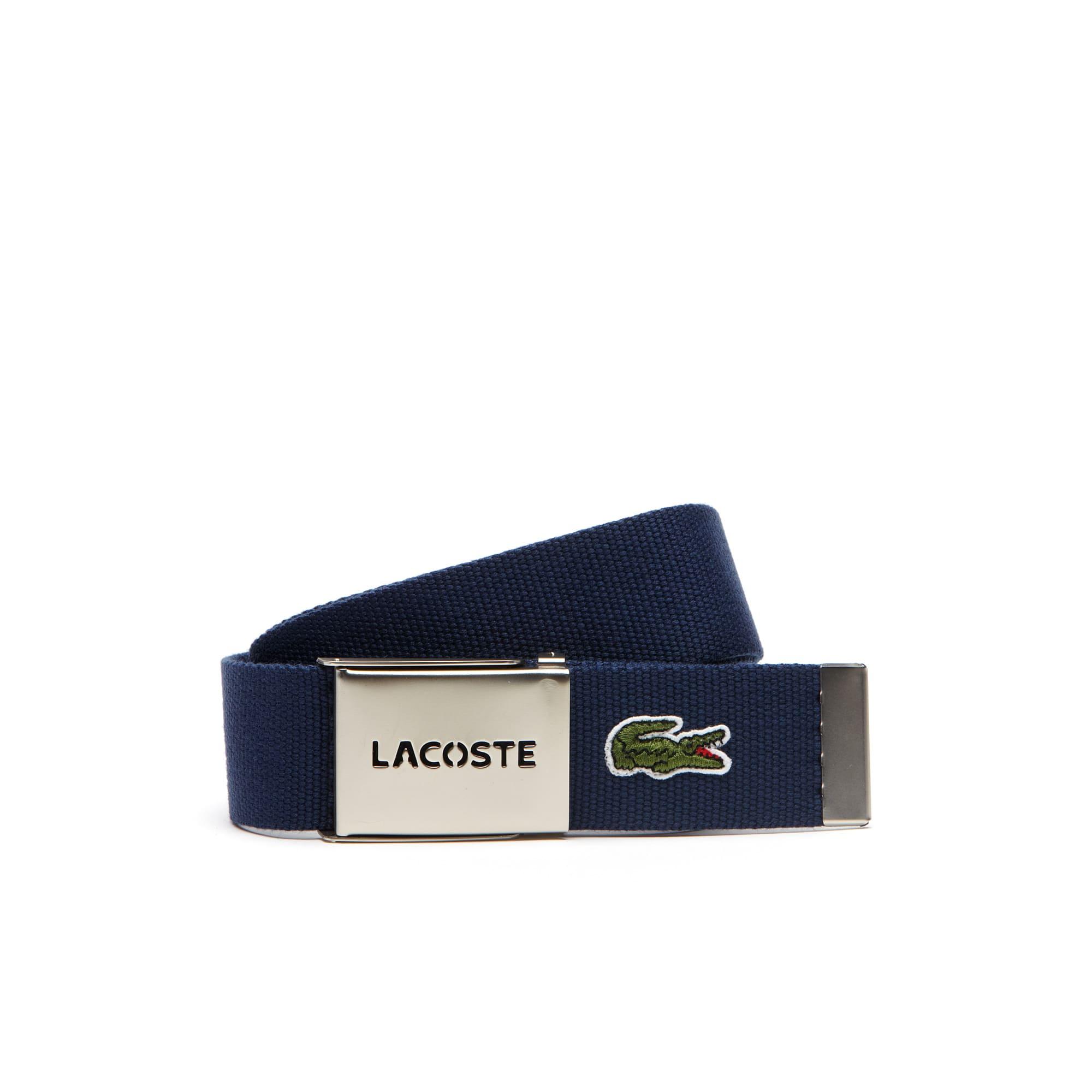 Cintura in tela con placca perforata con scritta Lacoste