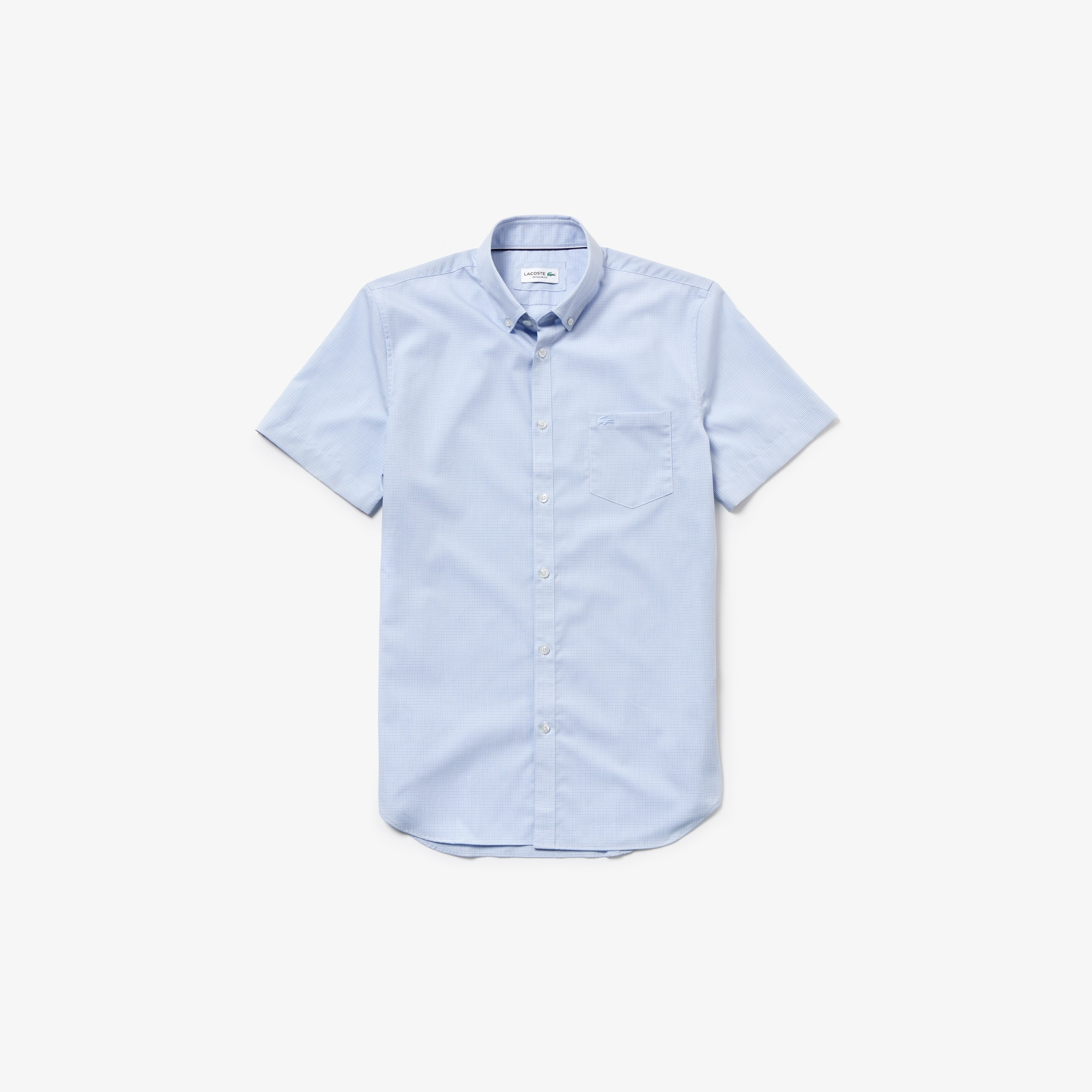 Camicia regular fit a maniche corte in popeline a mini quadretti