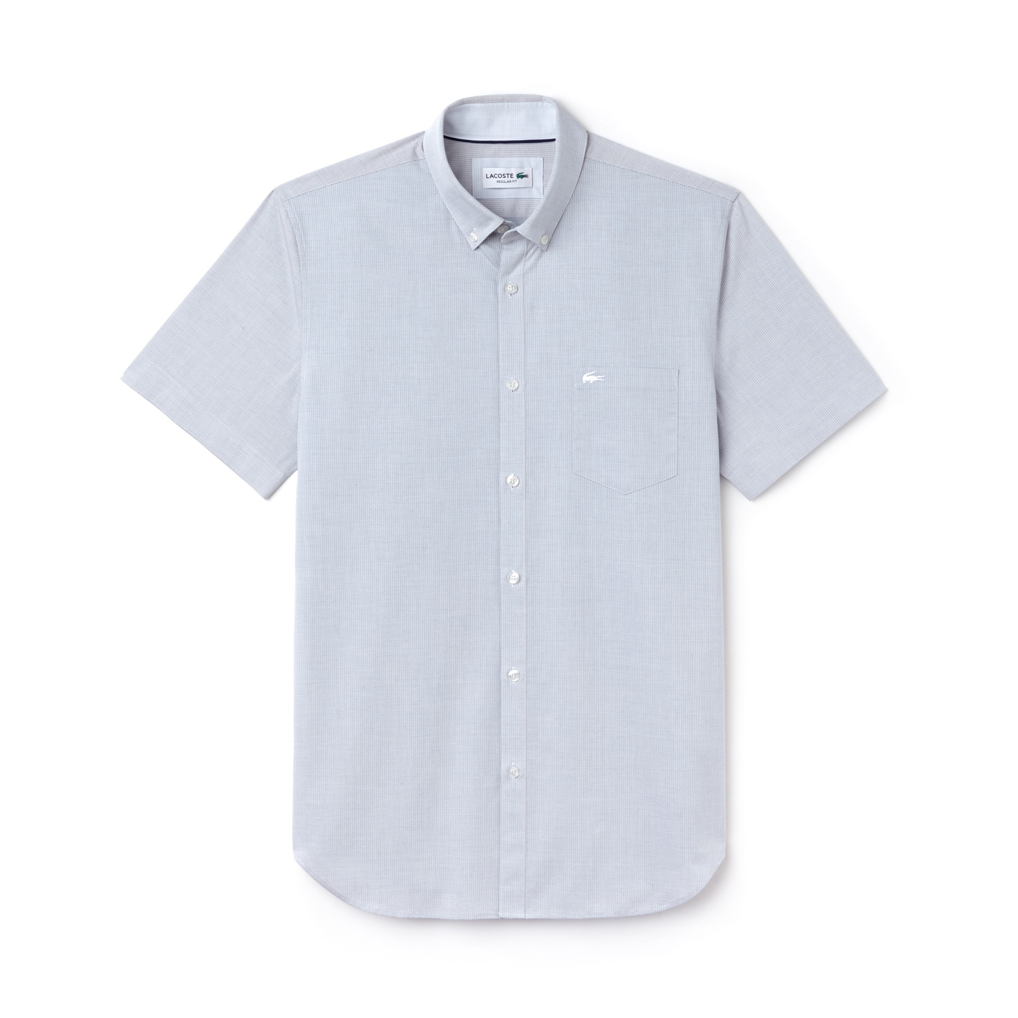 Camicia regular fit a maniche corte in popeline a rilievi