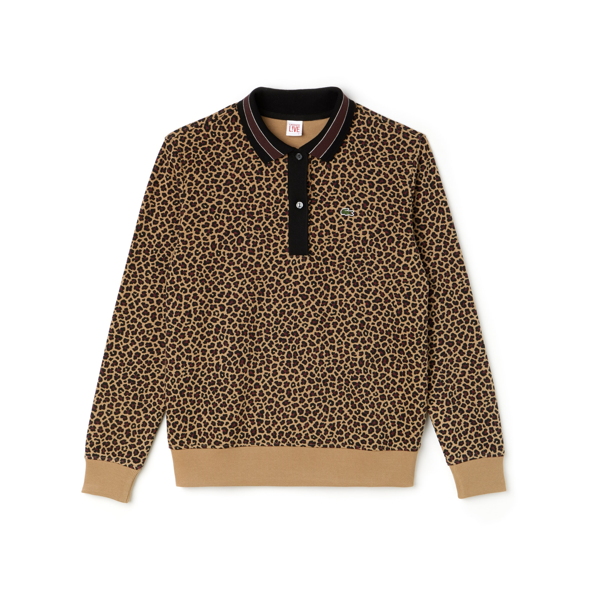 Polo boxy fit Lacoste LIVE in cotone interlock con stampa leopardata