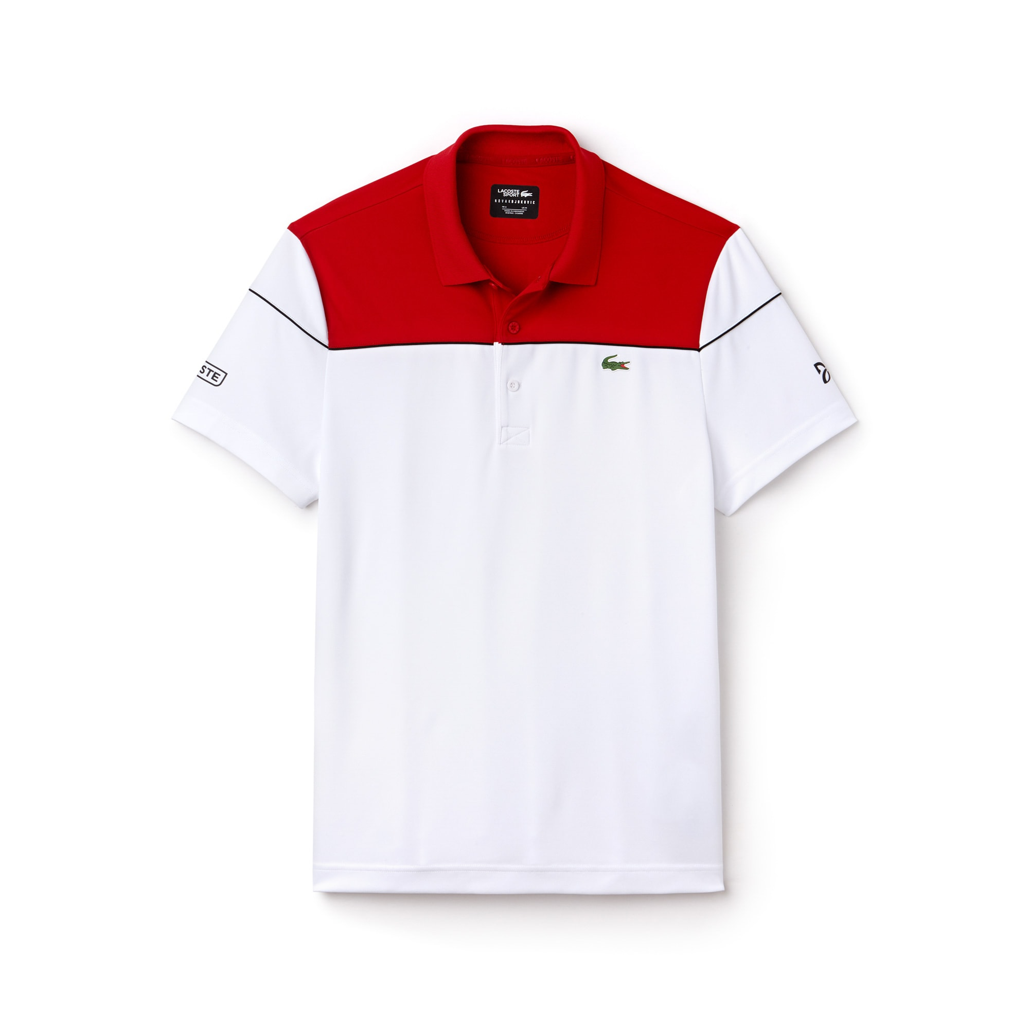Polo LACOSTE SPORT COLLEZIONE NOVAK DJOKOVIC in piqué tecnico color block