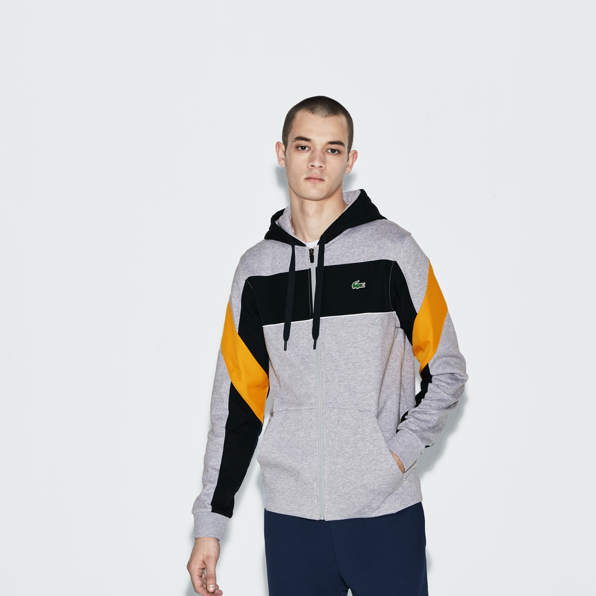 Felpa con zip e cappuccio Tennis Lacoste SPORT in cotone color block