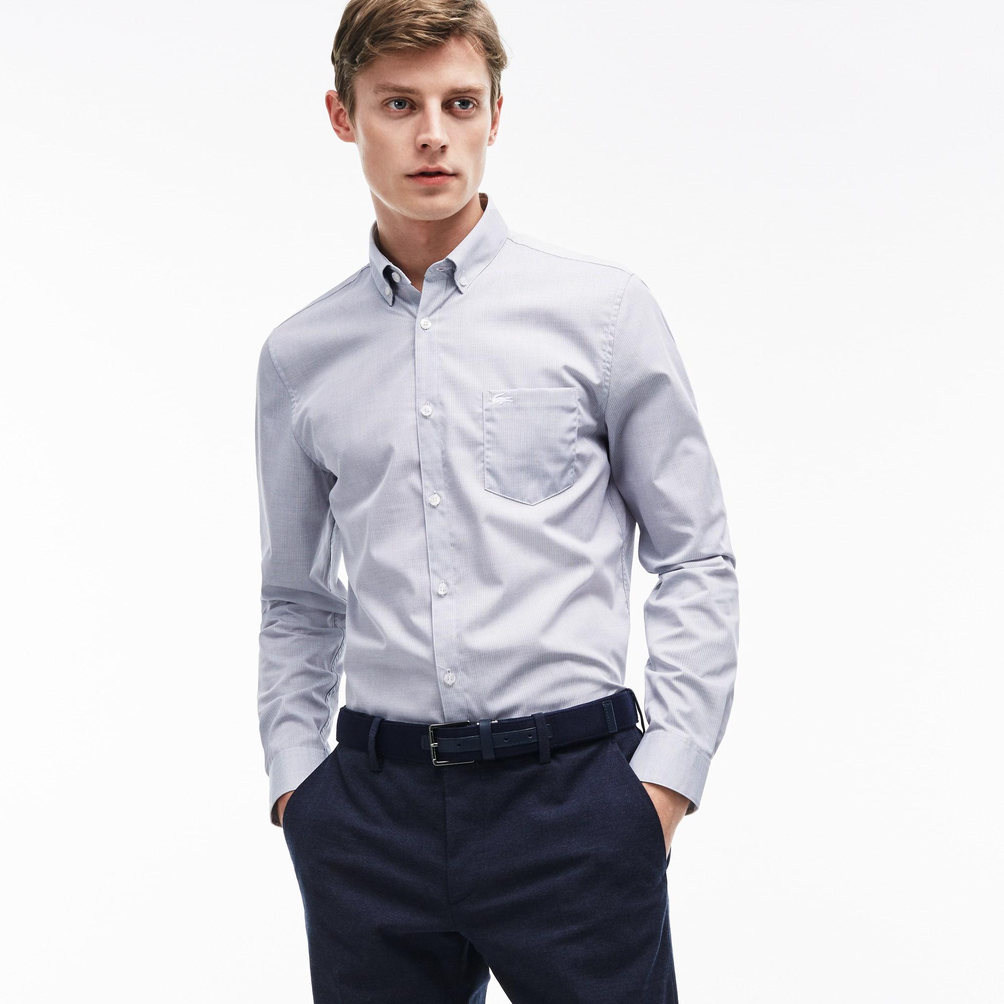 Camicia regular fit in popeline a rilievi tinta unita