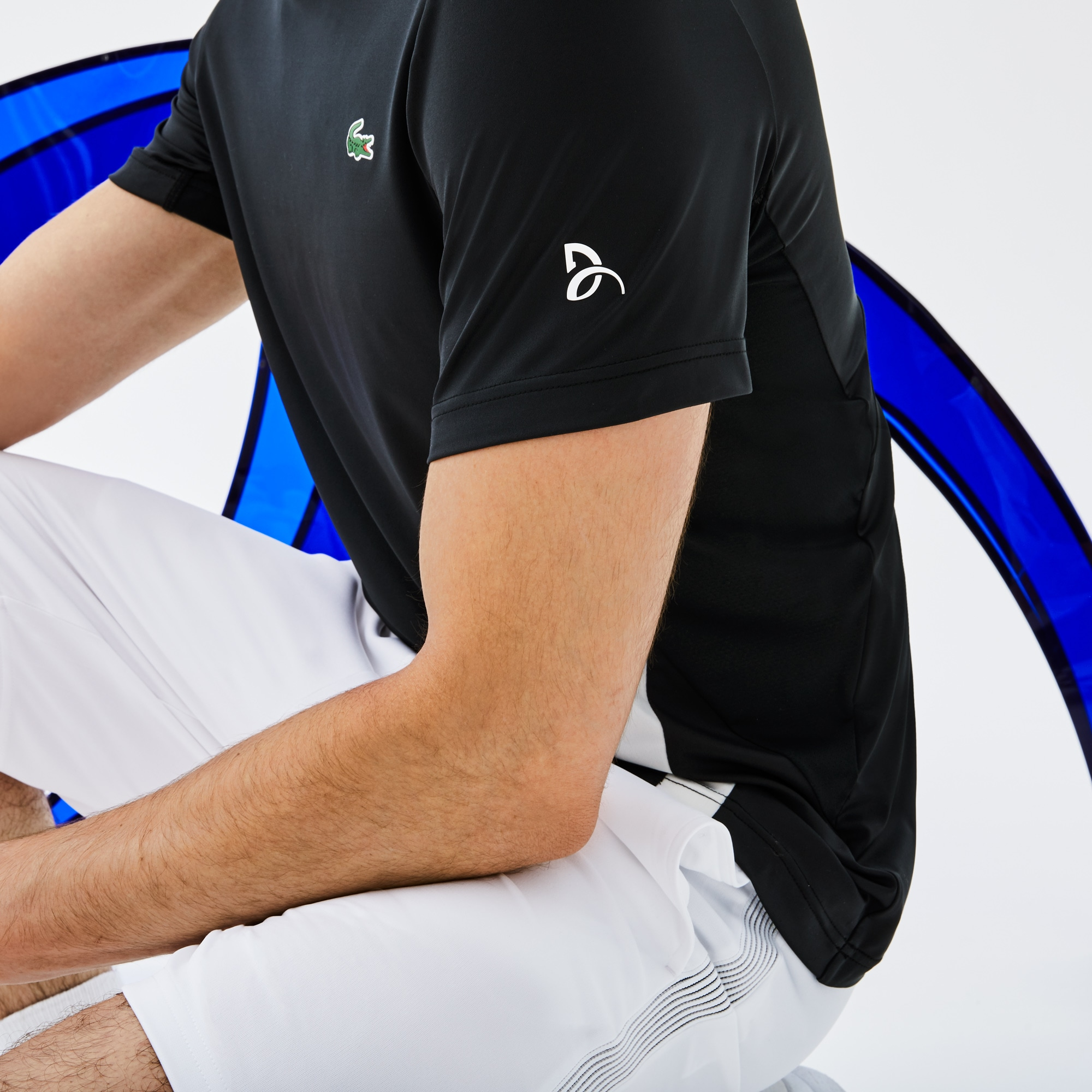 T-shirt a girocollo Lacoste SPORT Collezione Novak Djokovic - Off Court in jersey tecnico stretch