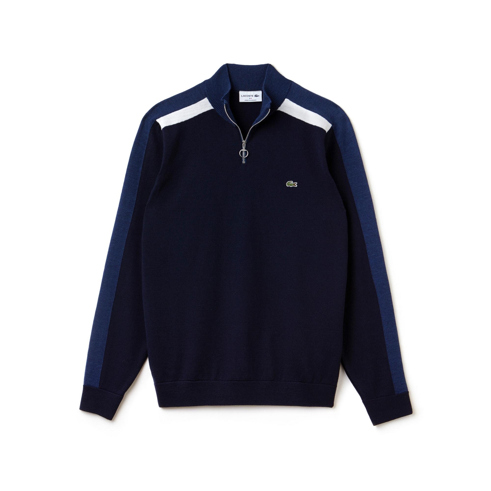 Pullover con collo dotato di zip Made in France in jersey con fasce color block