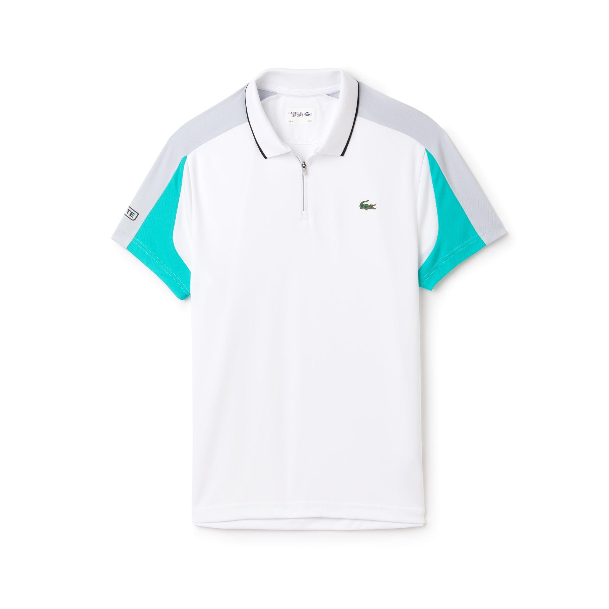 Polo con collo a zip Tennis Lacoste SPORT in piqué tecnico con fasce a contrasto