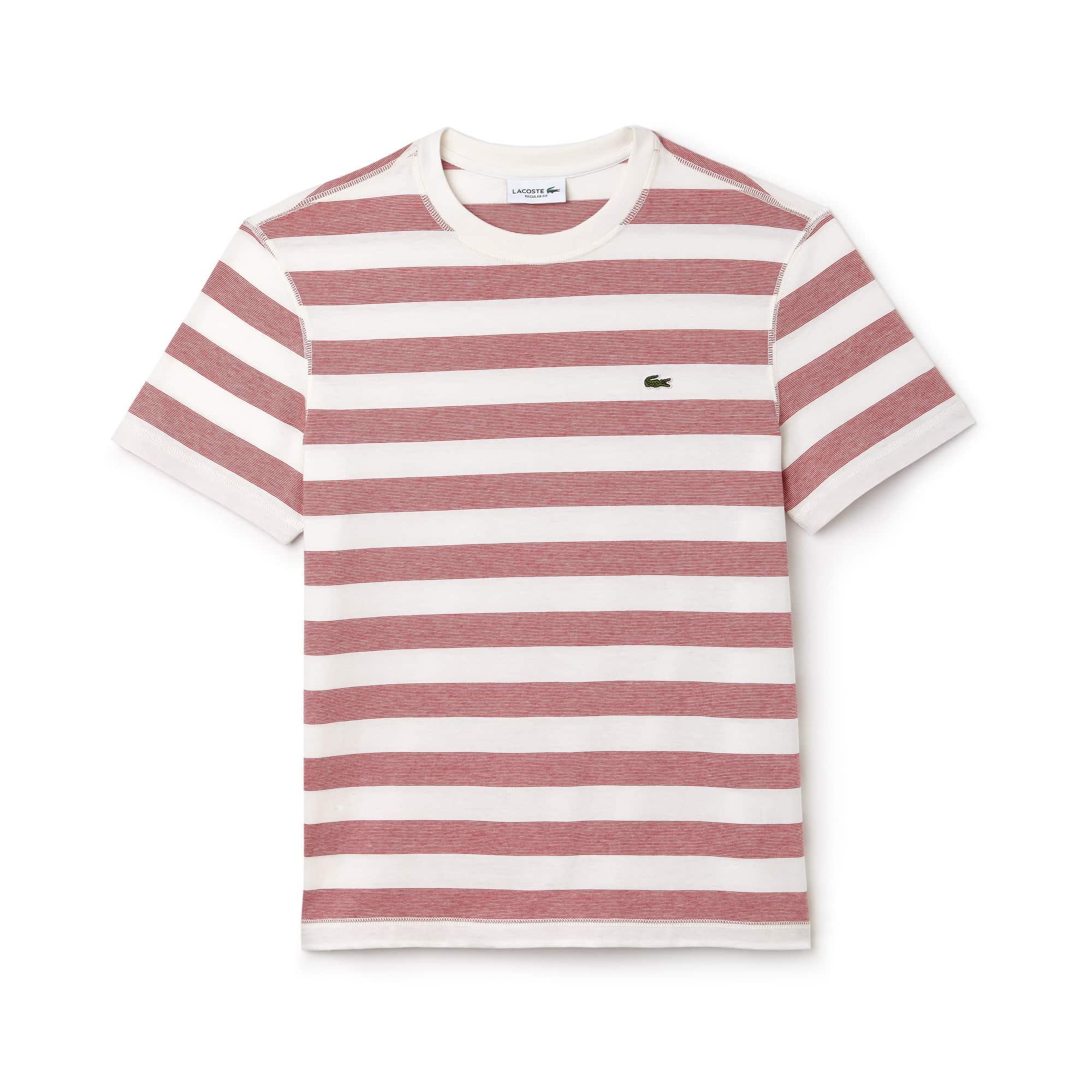 T-shirt a girocollo in jersey di cotone a righe