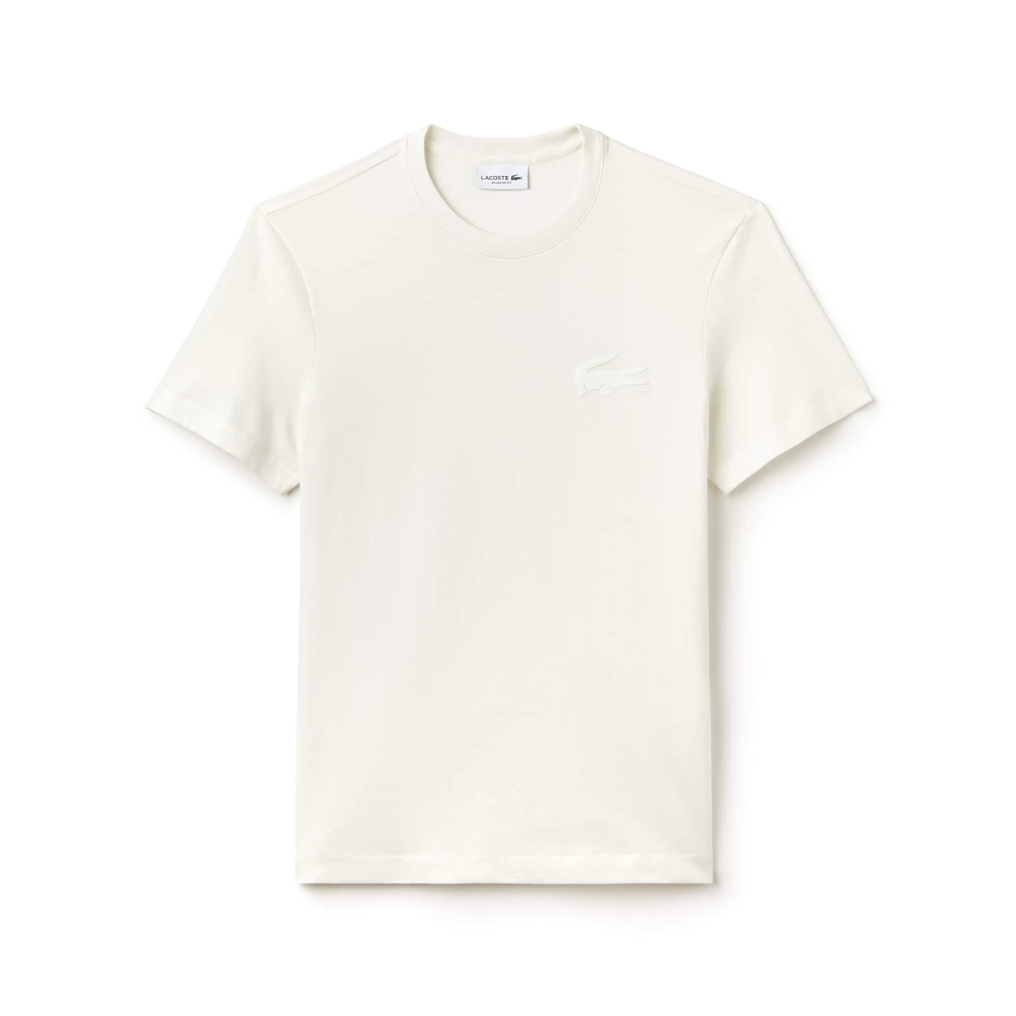 T-shirt a girocollo in jersey di cotone tinta unita con marchio del coccodrillo