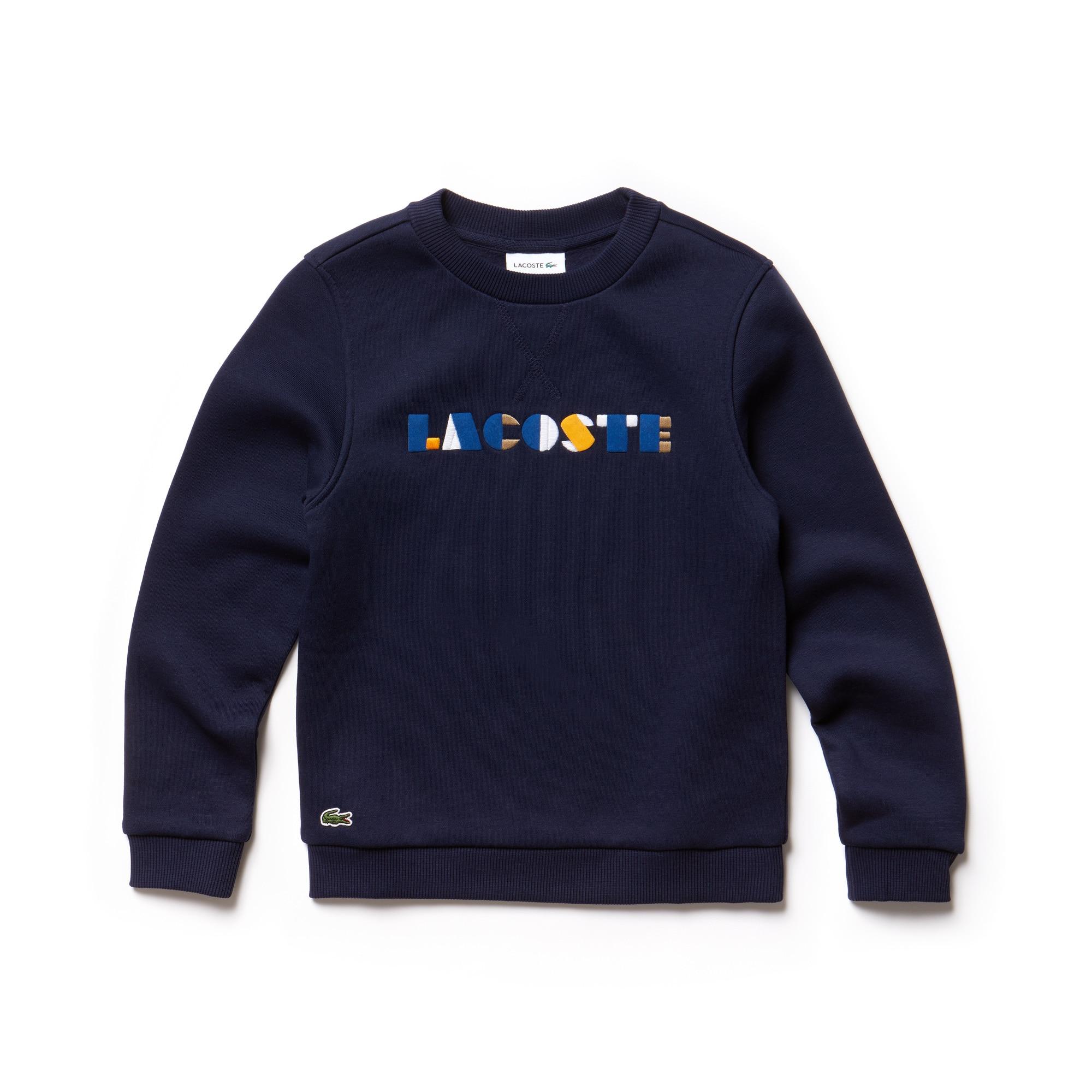 Girls' Crew Neck Colored Lacoste Embroidery Fleece Sweatshirt