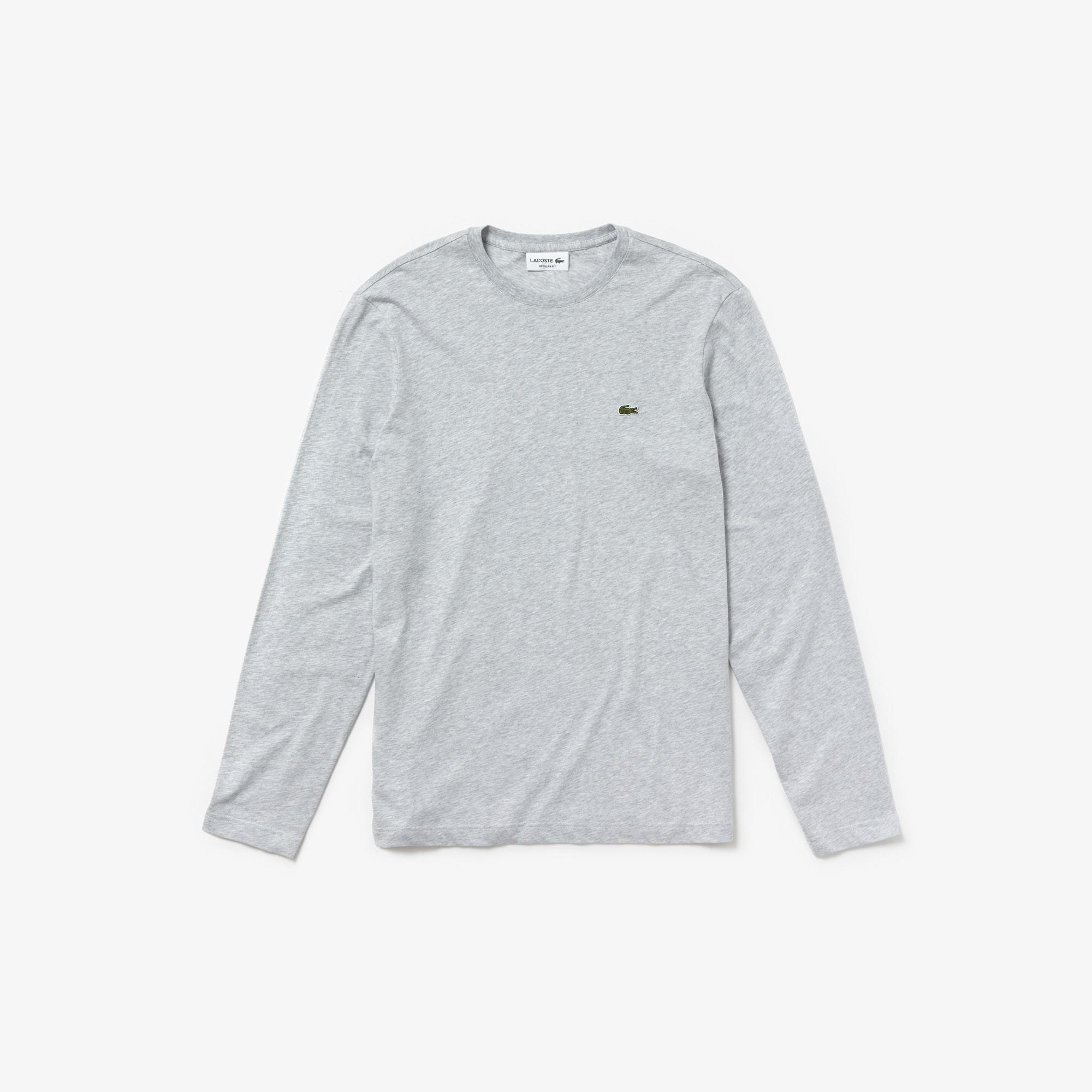 T-shirt a girocollo maniche lunghe in jersey di cotone tinta unita