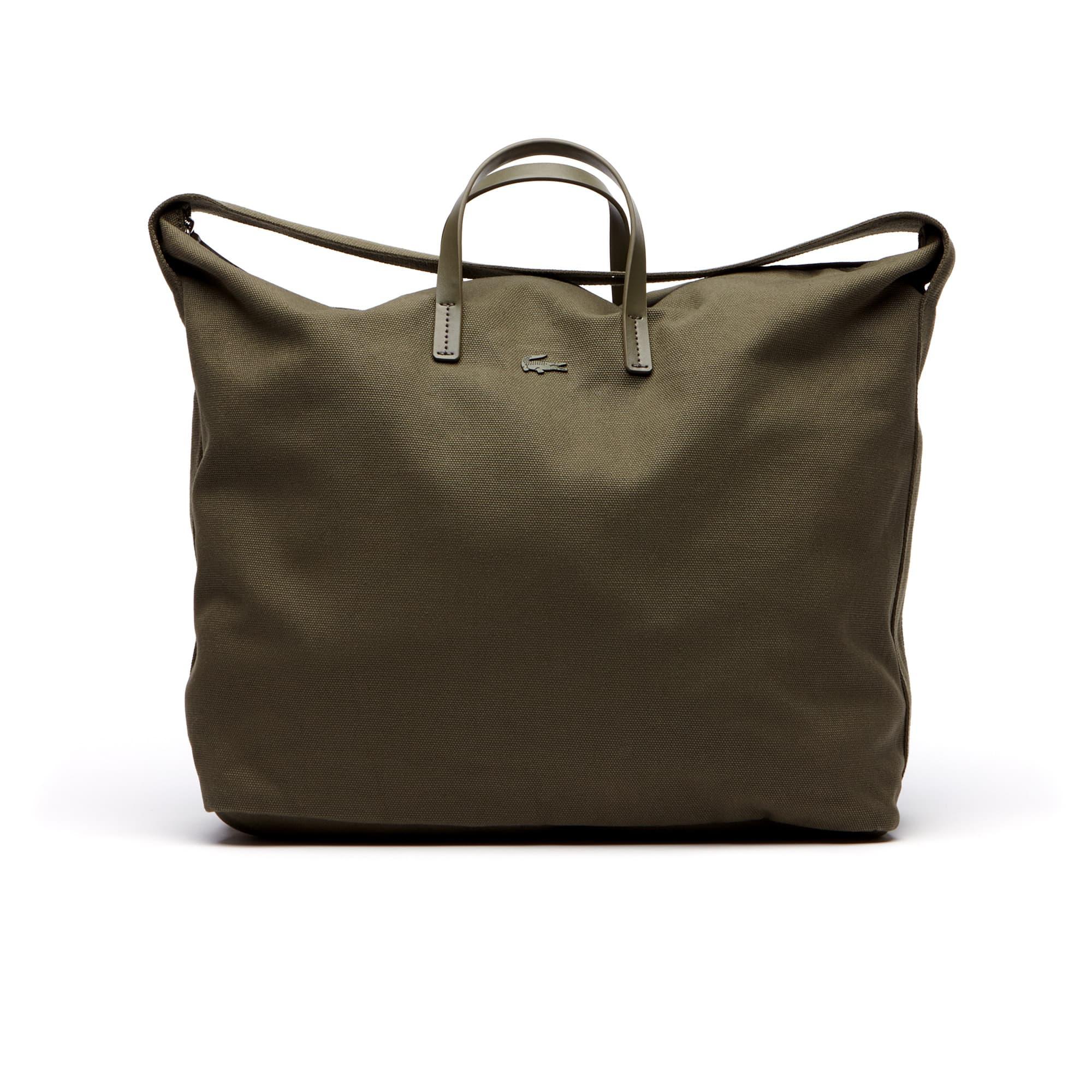 Shopping bag grande con zip e tracolla Suzie in cotone monocromo