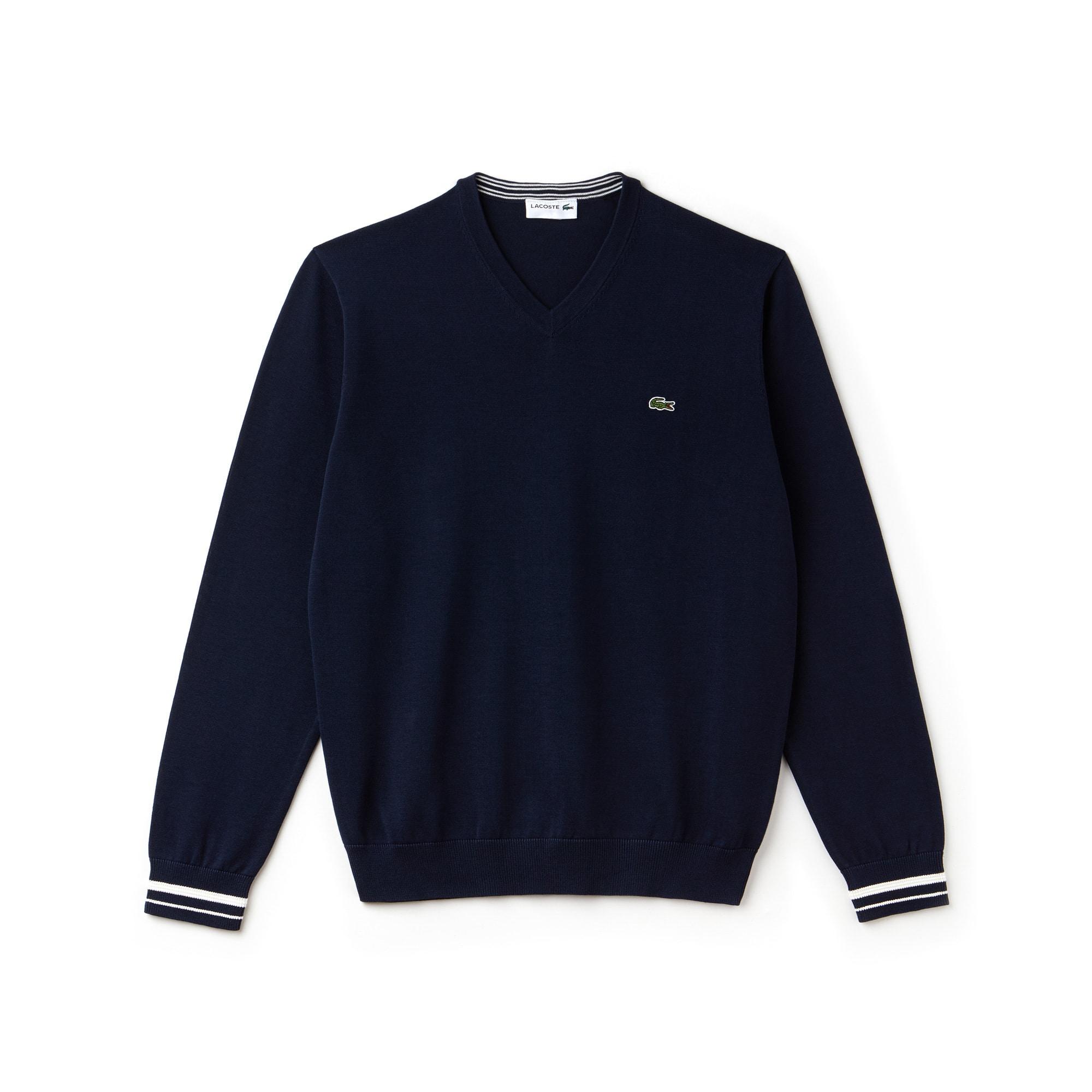 Pullover con collo a V in jersey di cotone tinta unita con dettagli a contrasto