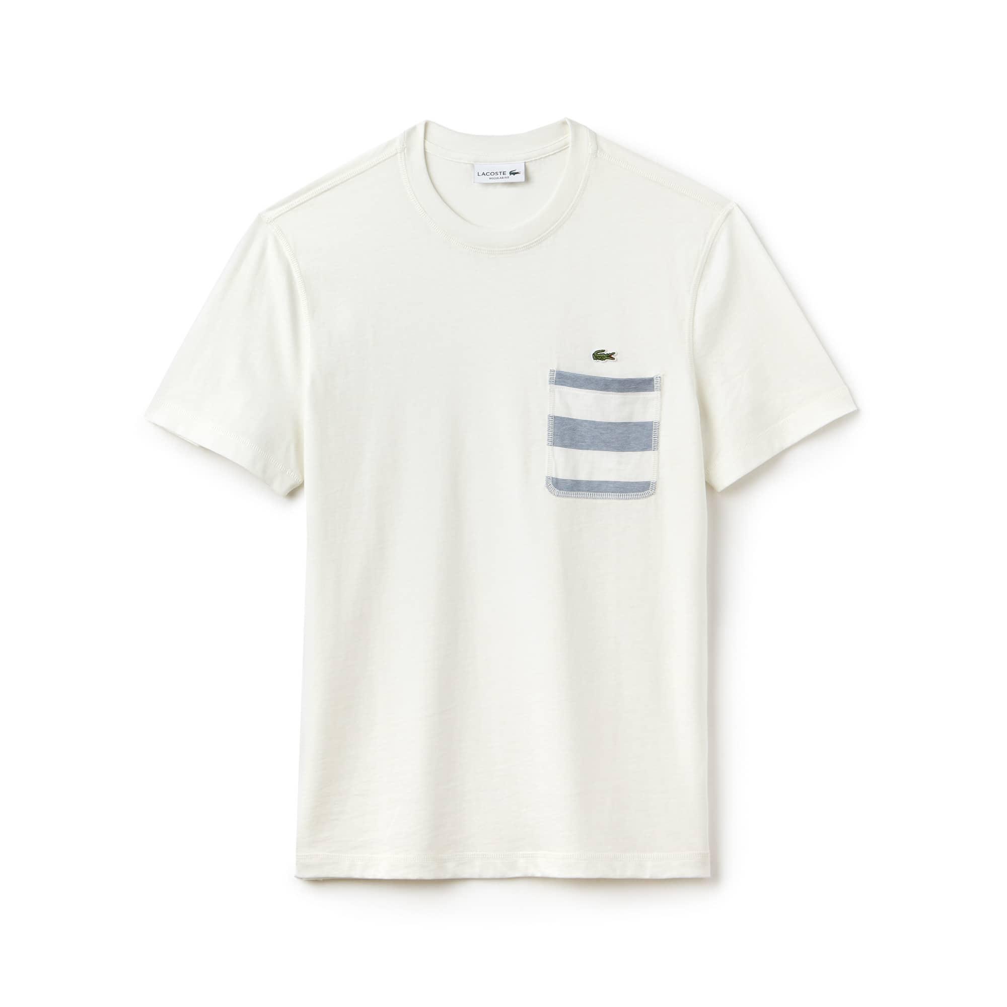 T-shirt a girocollo in jersey di cotone con taschino a righe