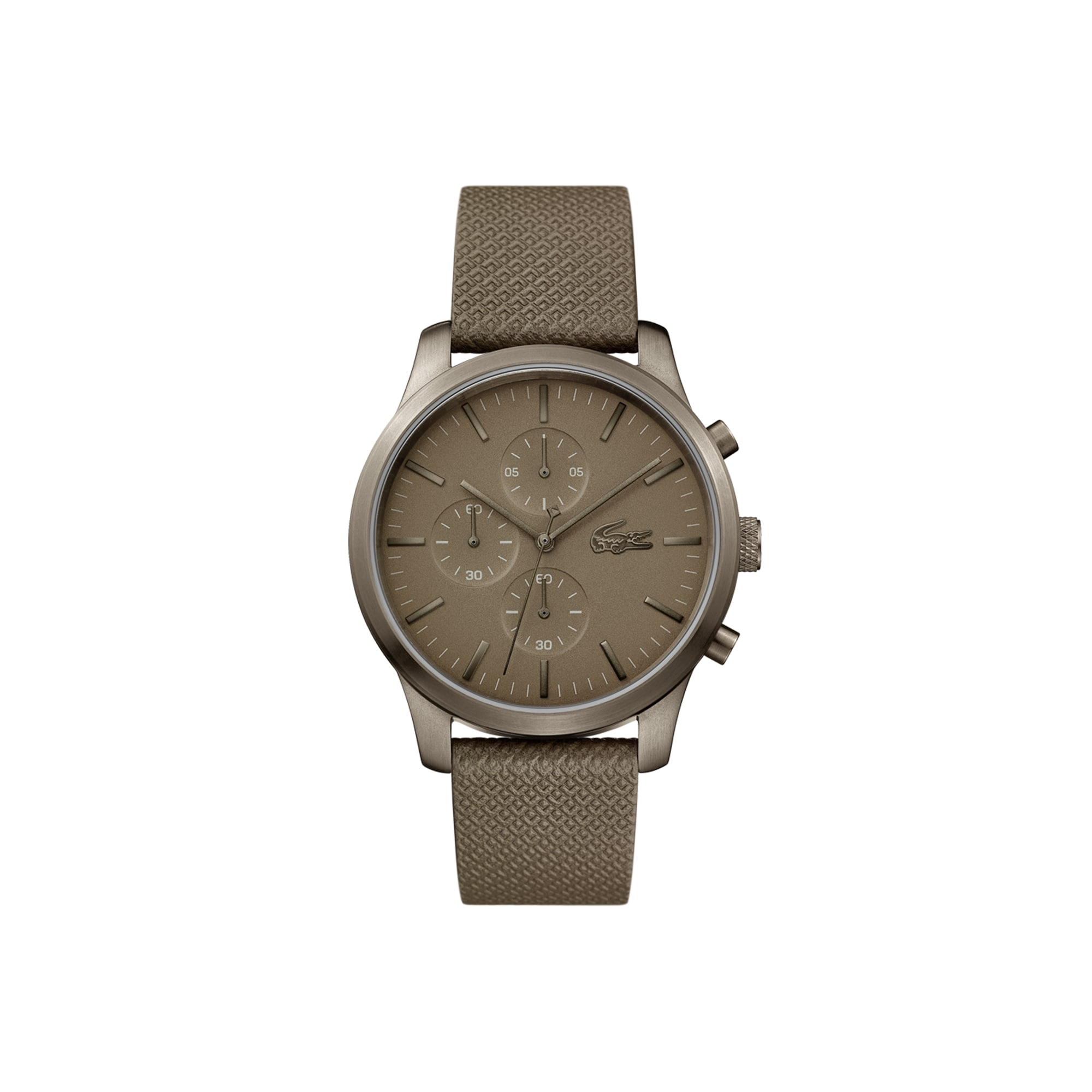 Orologio Lacoste.12.12 con cronografo 85° anniversario. Cinturino in pelle kaki con goffratura Petit Piqué