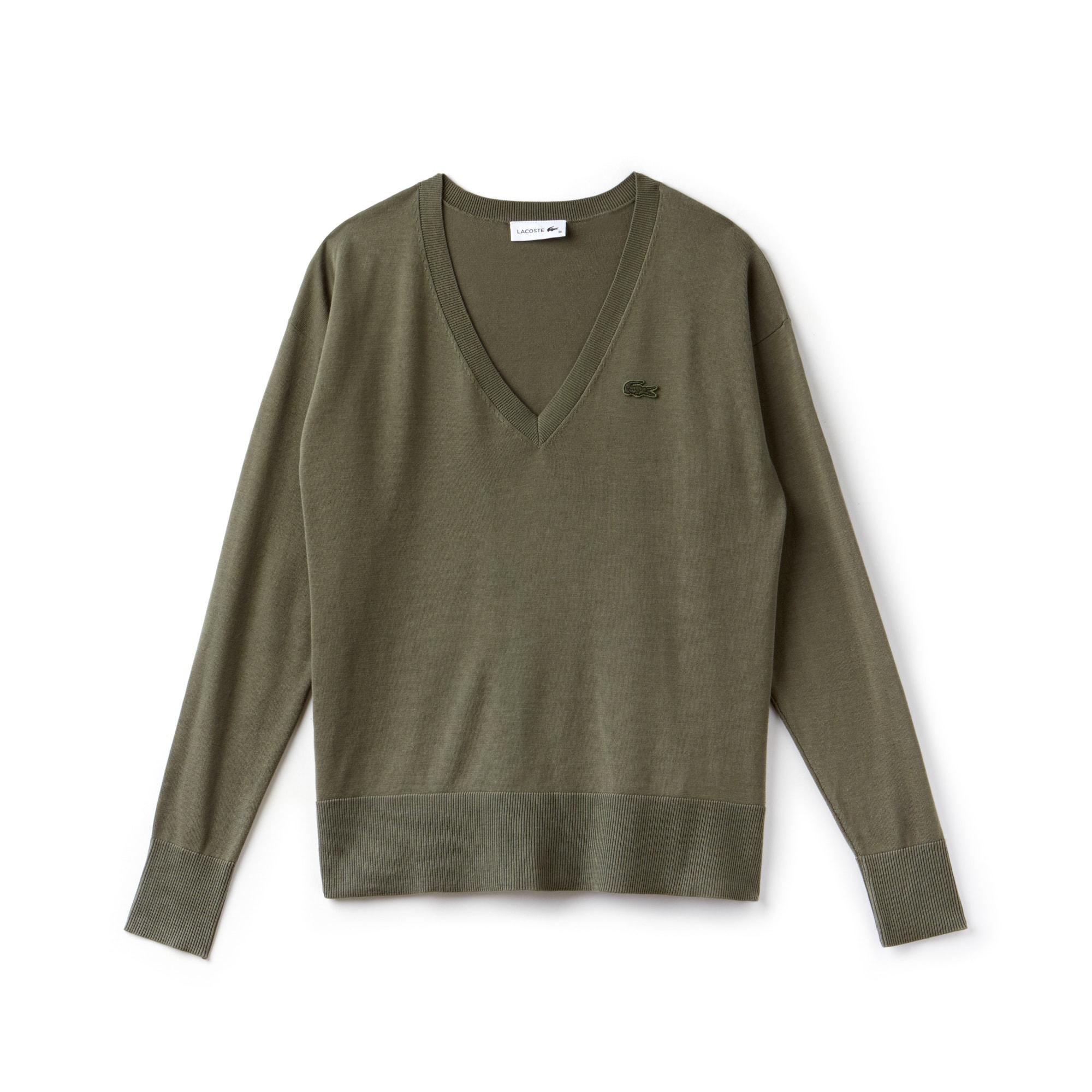 Pullover con collo a V in jersey di cotone tinta unita