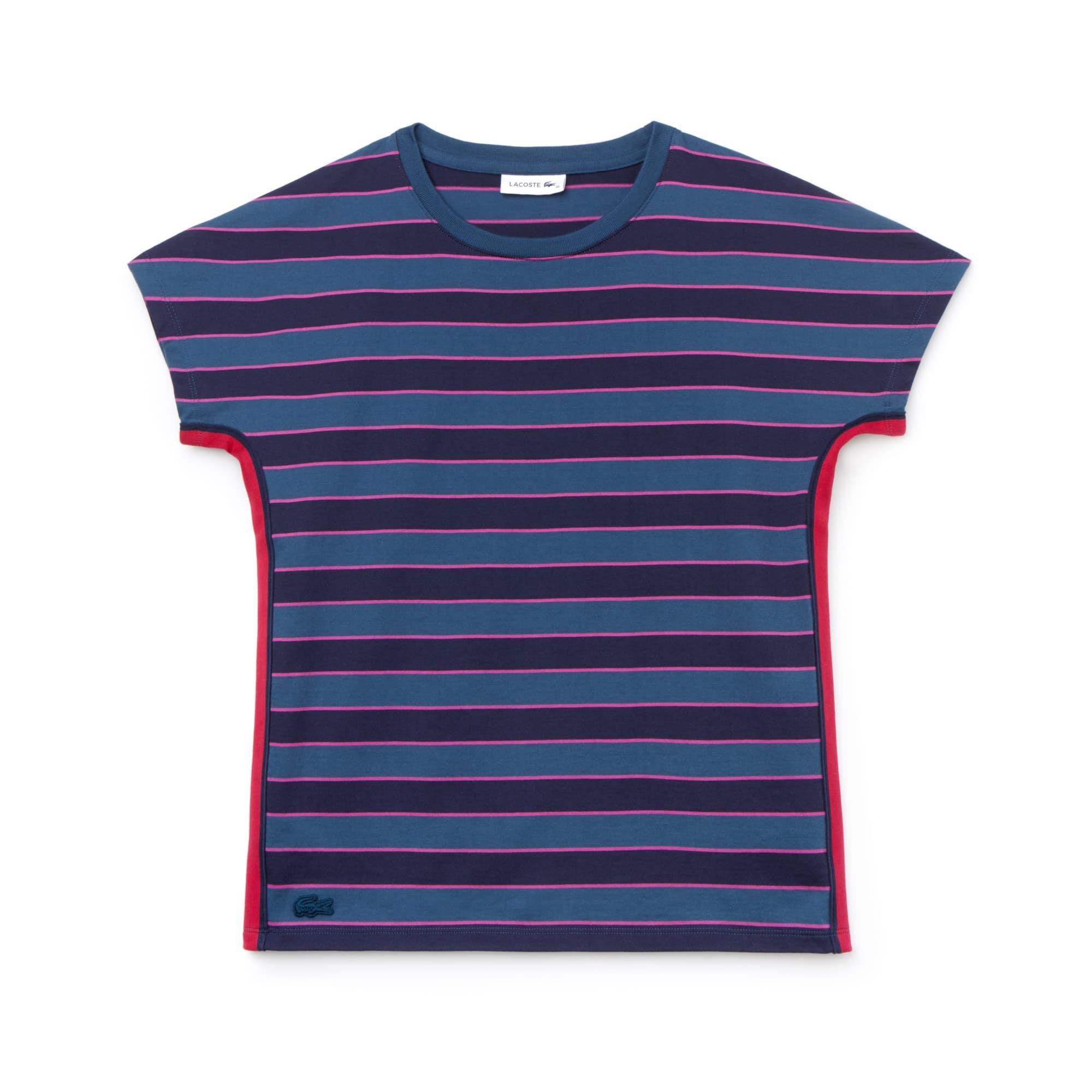 T-shirt a girocollo in jersey mercerizzato di cotone a righe color block
