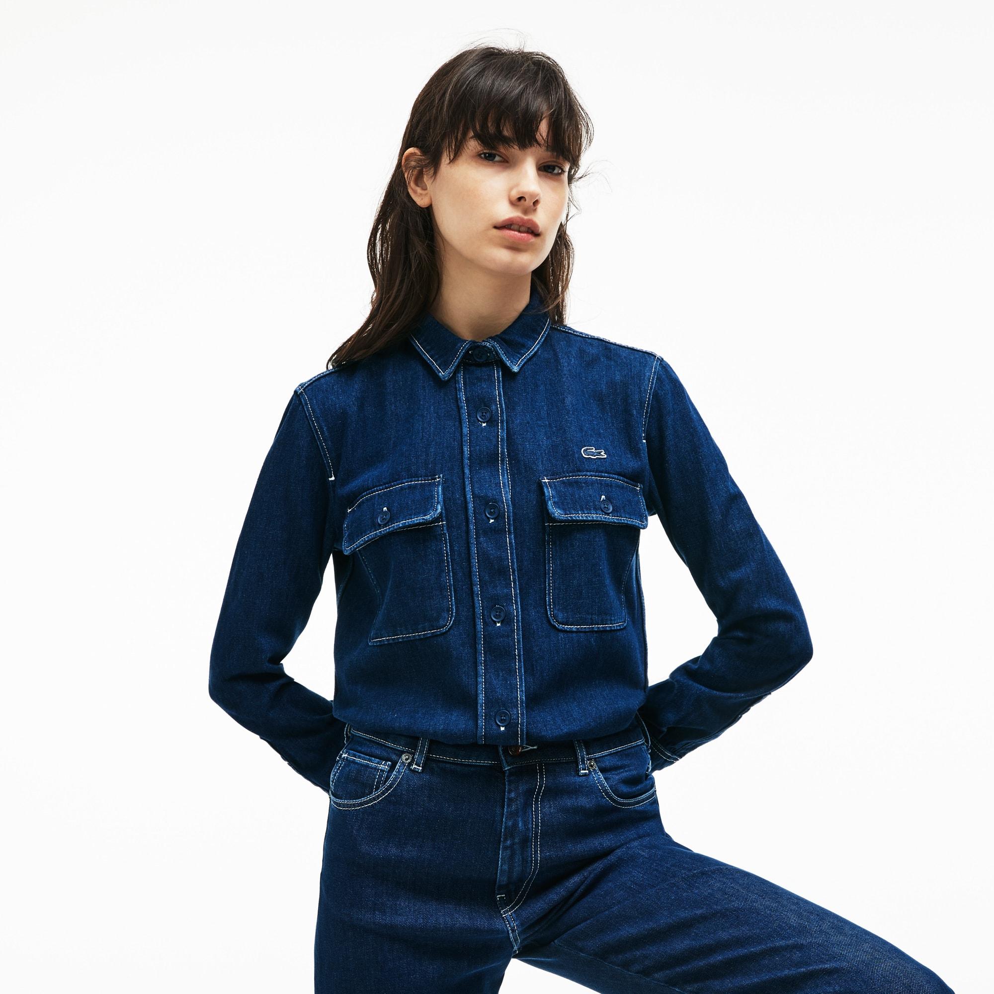 Camicia regular fit in jeans con cuciture a contrasto