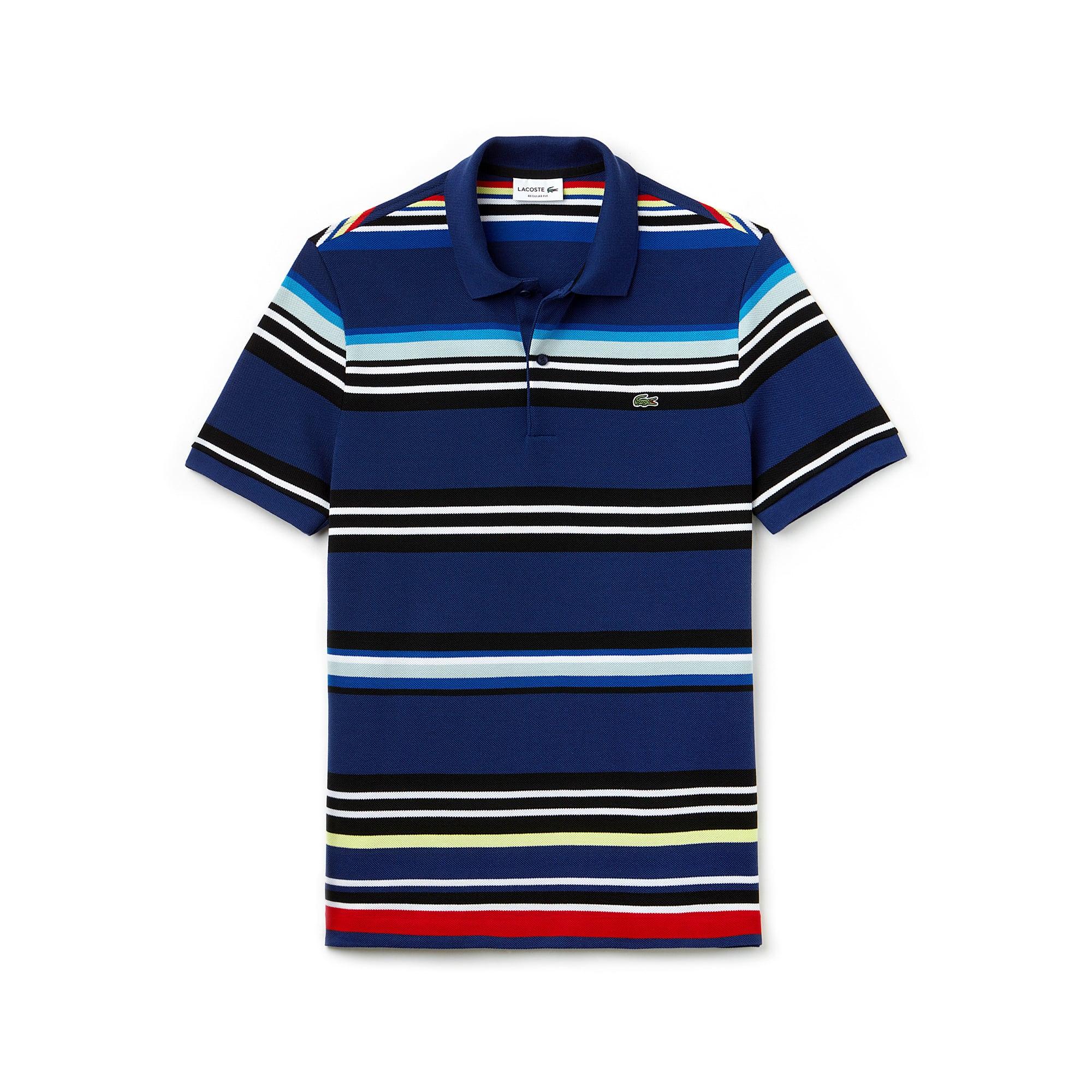 Polo regular fit Lacoste in piqué jaspé a righe colorate