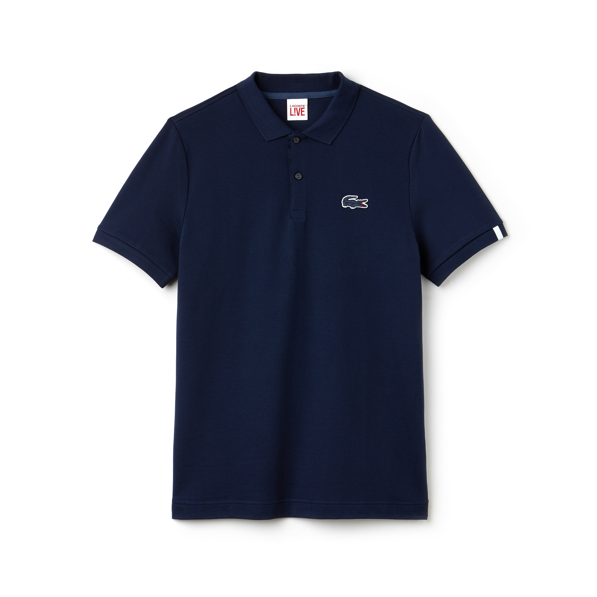 Polo slim fit Lacoste LIVE in mini piqué stretch tinta unita