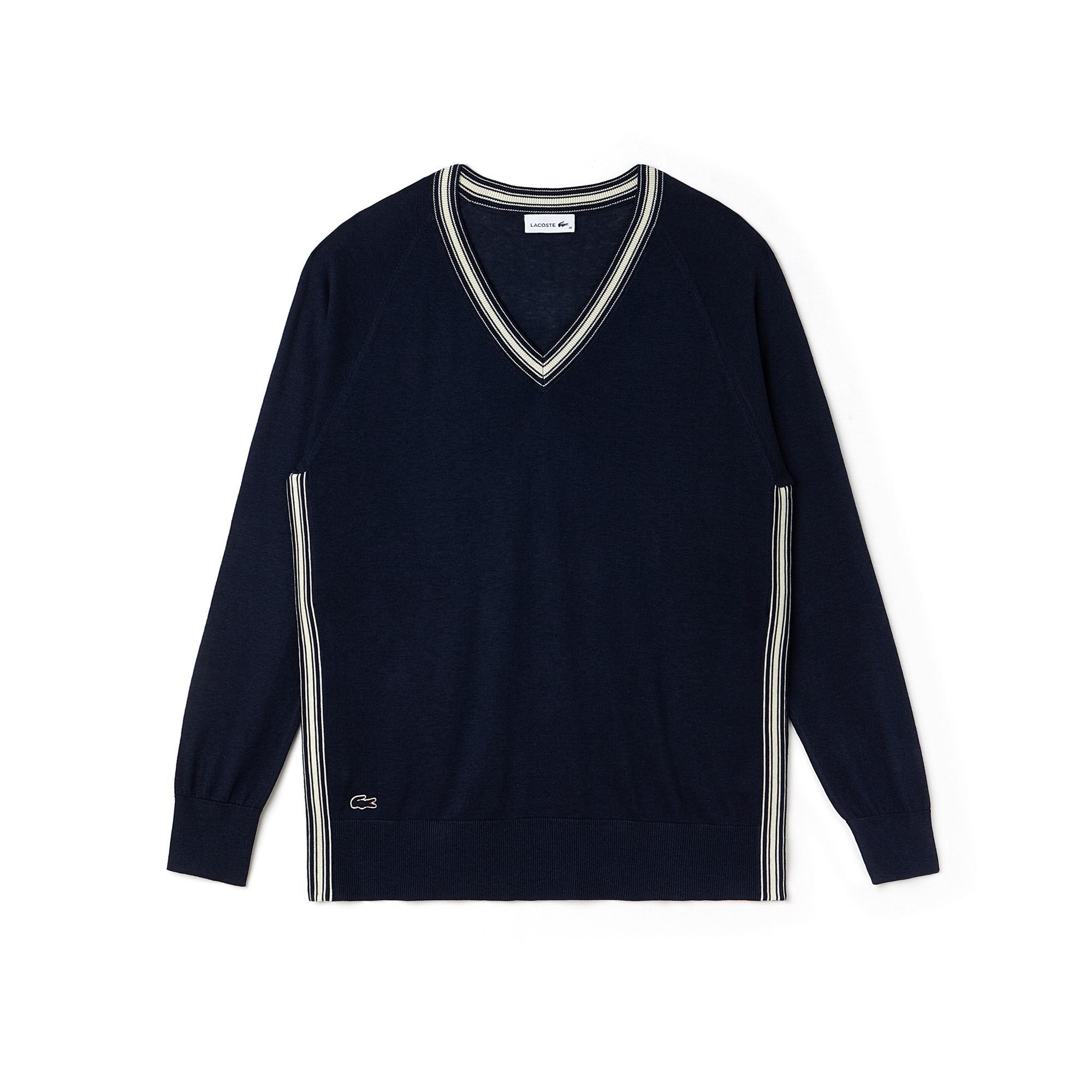 Pullover con collo a V e spacco in jersey di seta e cotone con bordino