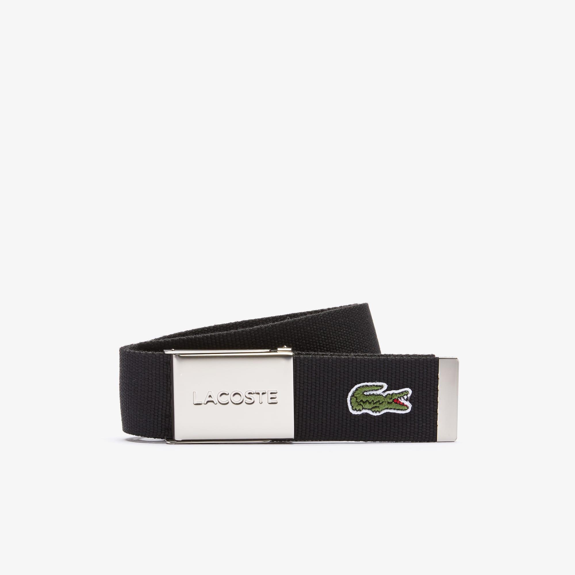 disponibilità nel Regno Unito 89ae0 564f0 Cintura in tessuto intrecciato con fibbia e incisione Lacoste Made in  France da uomo