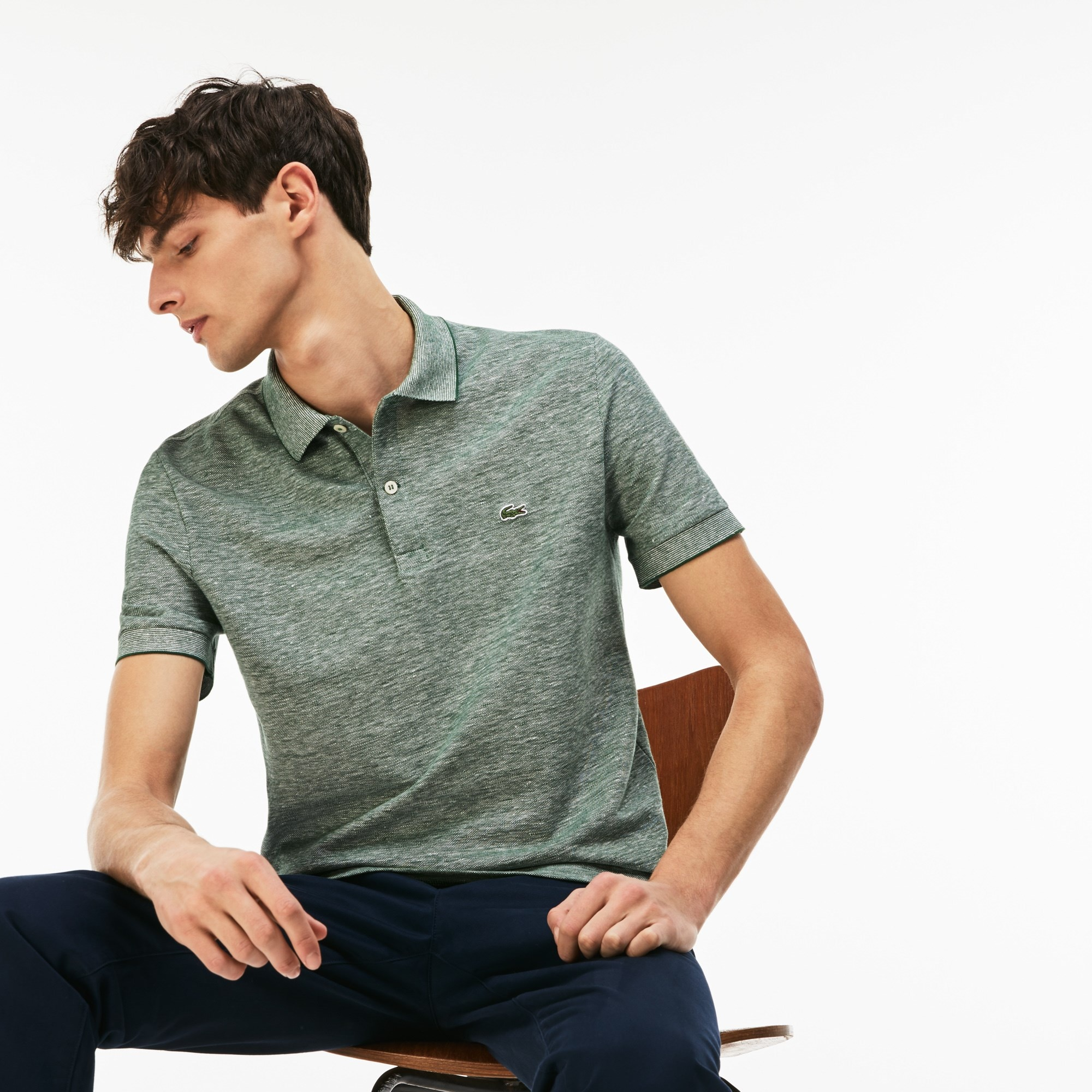 Polo regular fit Lacoste in piqué caviale a rilievi tinta unita