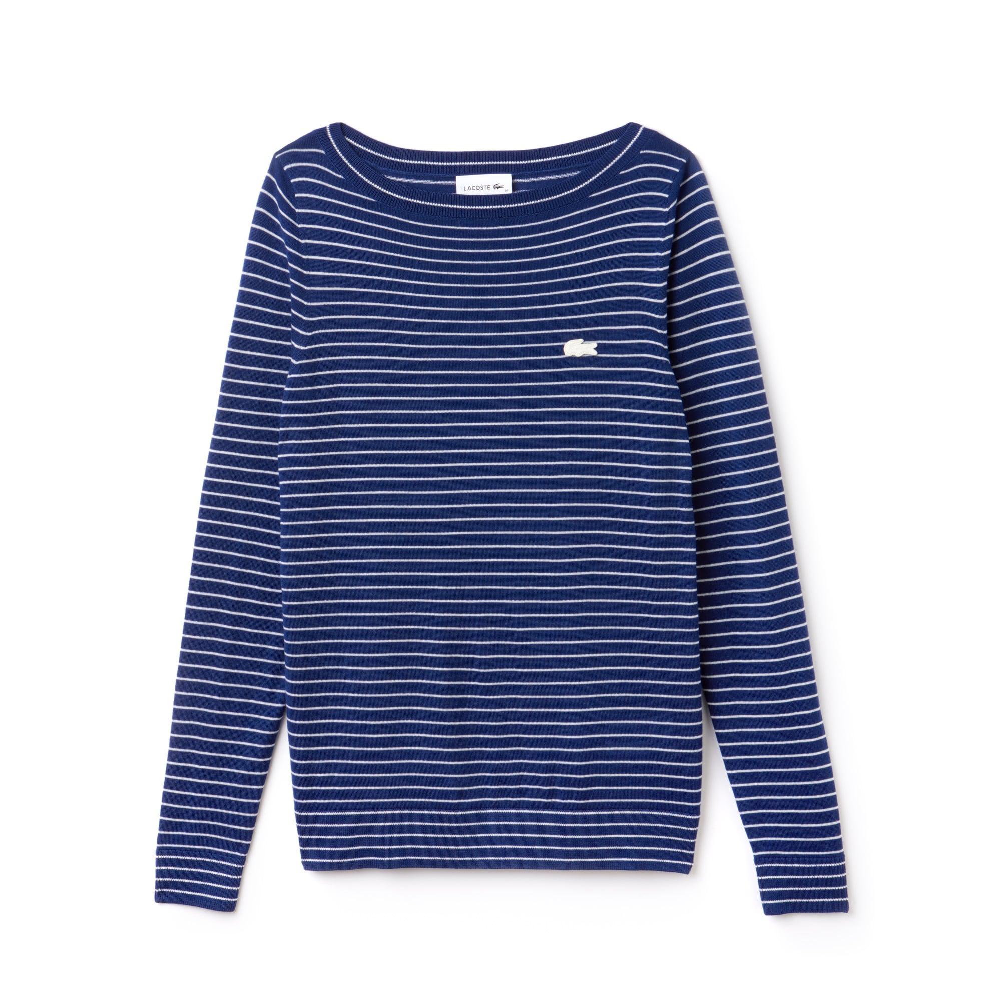 Pullover con collo a barchetta in jersey di lana a righe