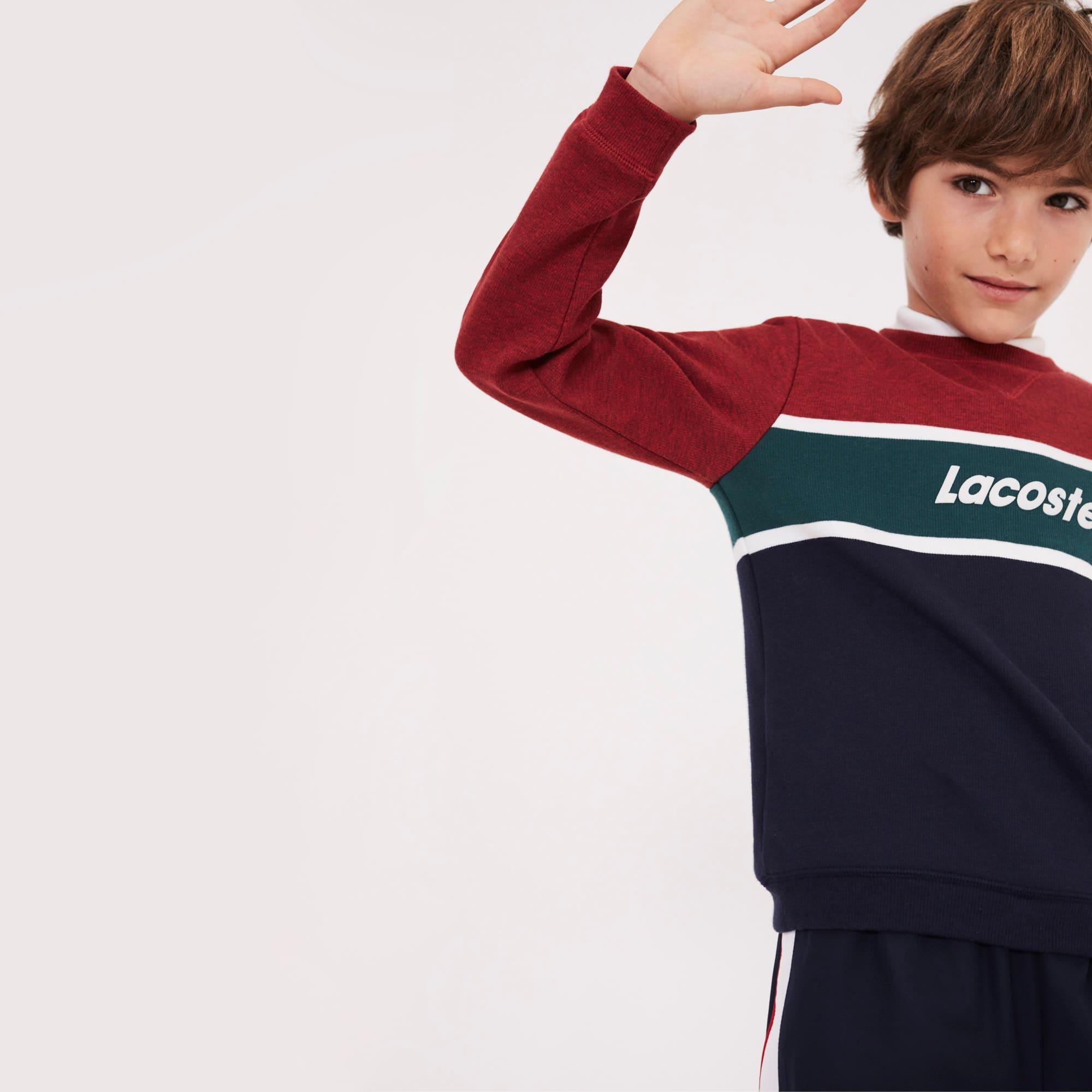 Pullover a girocollo in jersey color block con marchio Lacoste