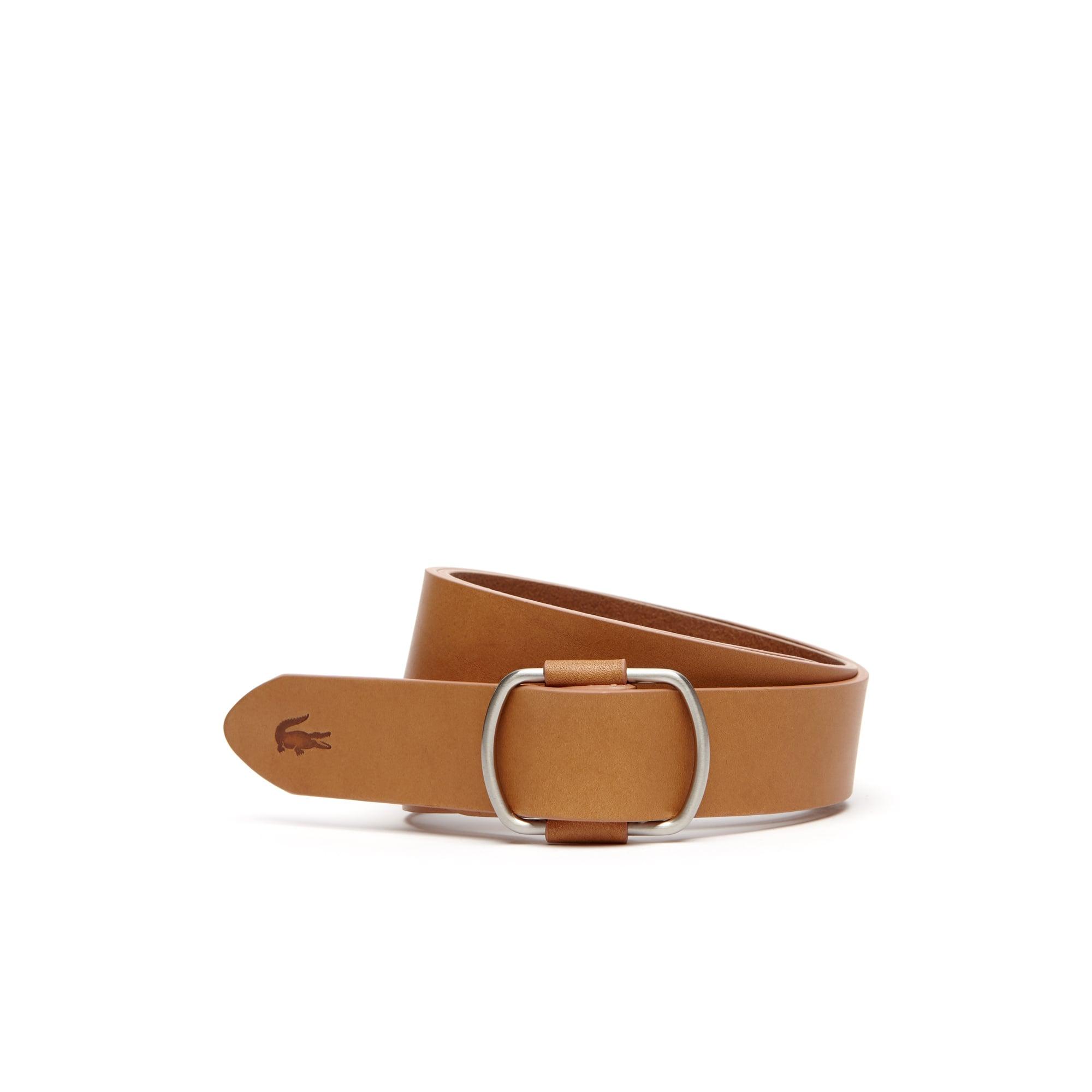 Cintura in pelle con fibbia ad anelli autoserrante
