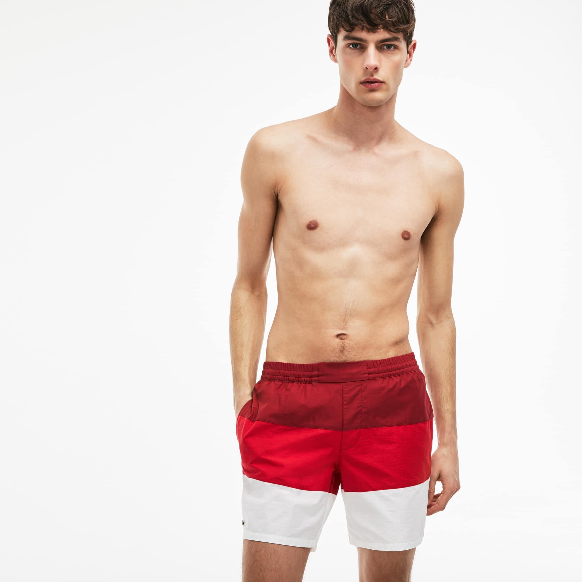Pantaloncini da bagno in taffetà color block
