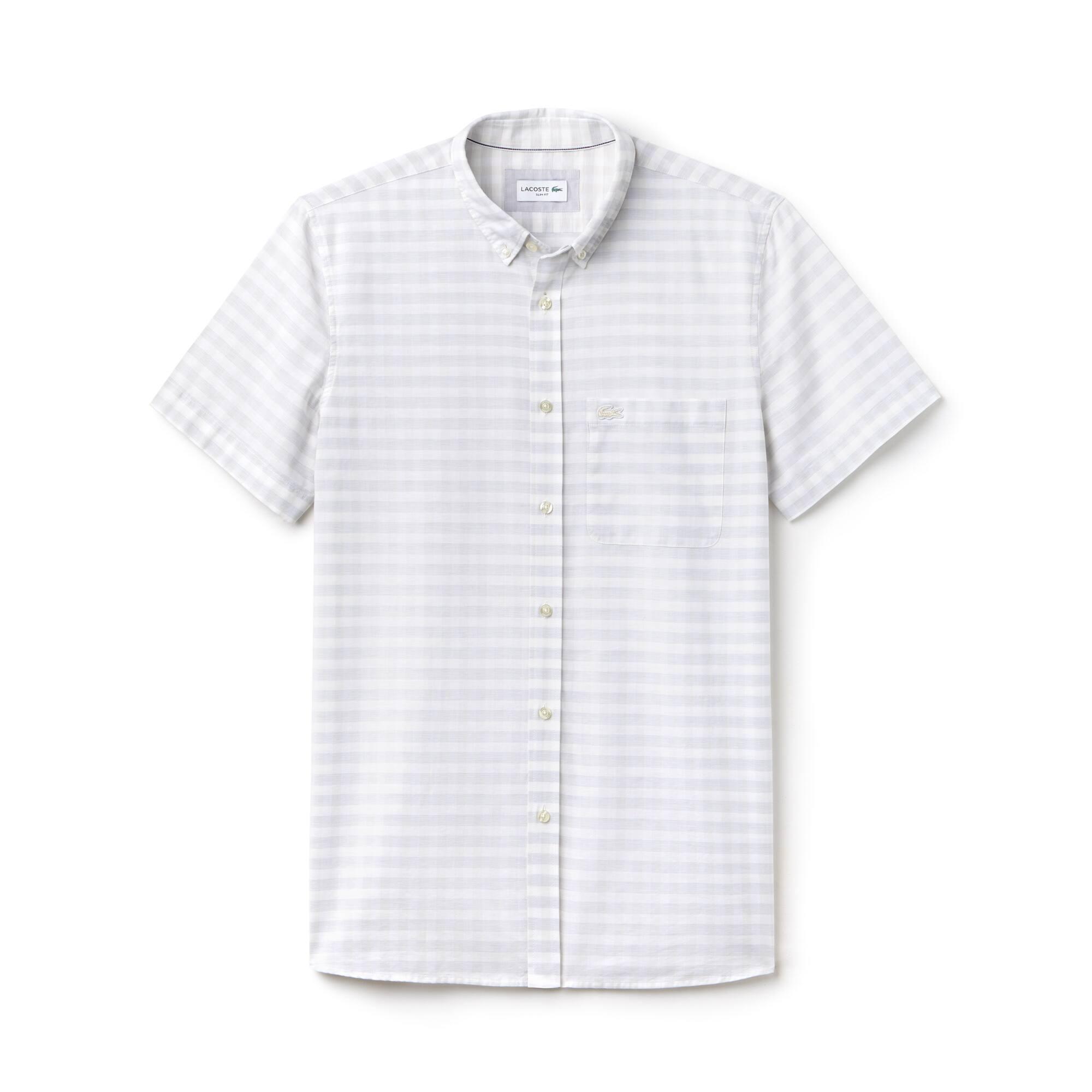 Camicia slim fit a maniche corte in popeline a quadretti