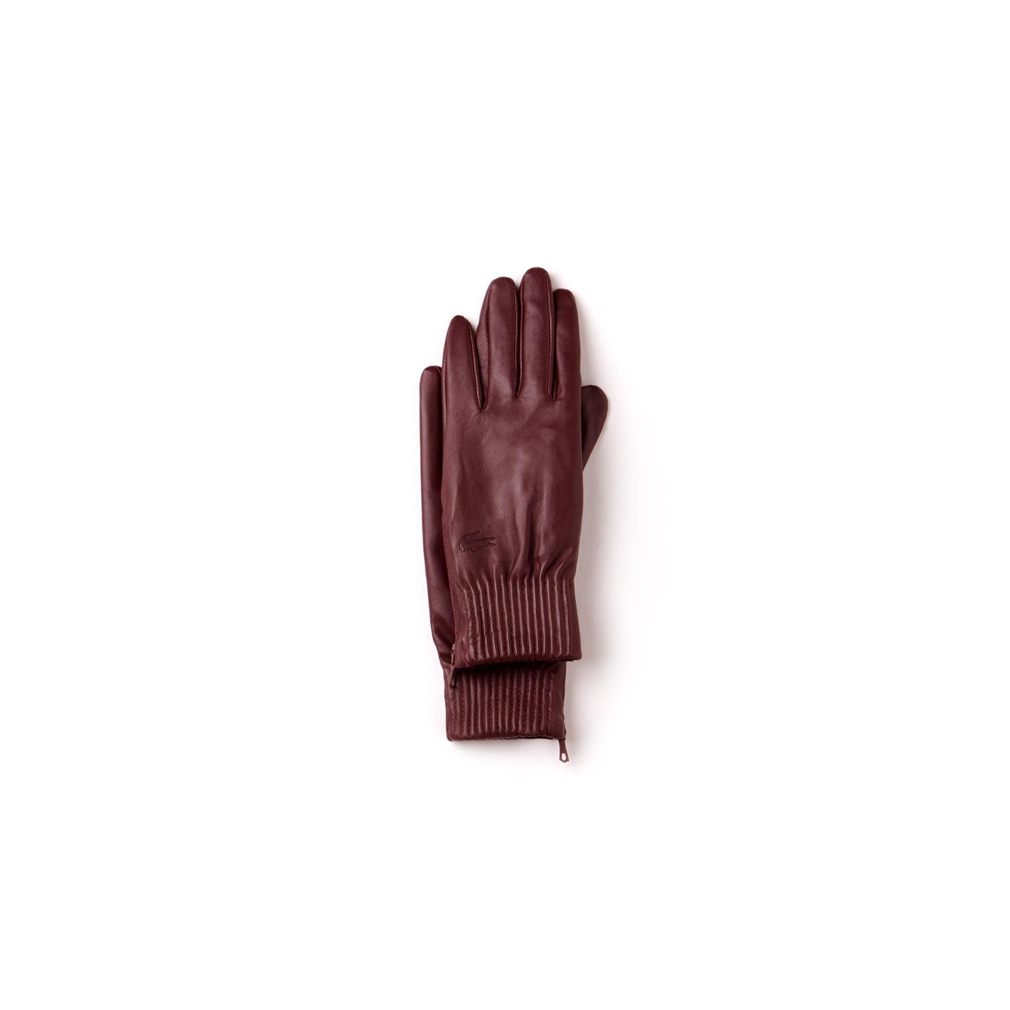 Guanti con zip in pelle premium