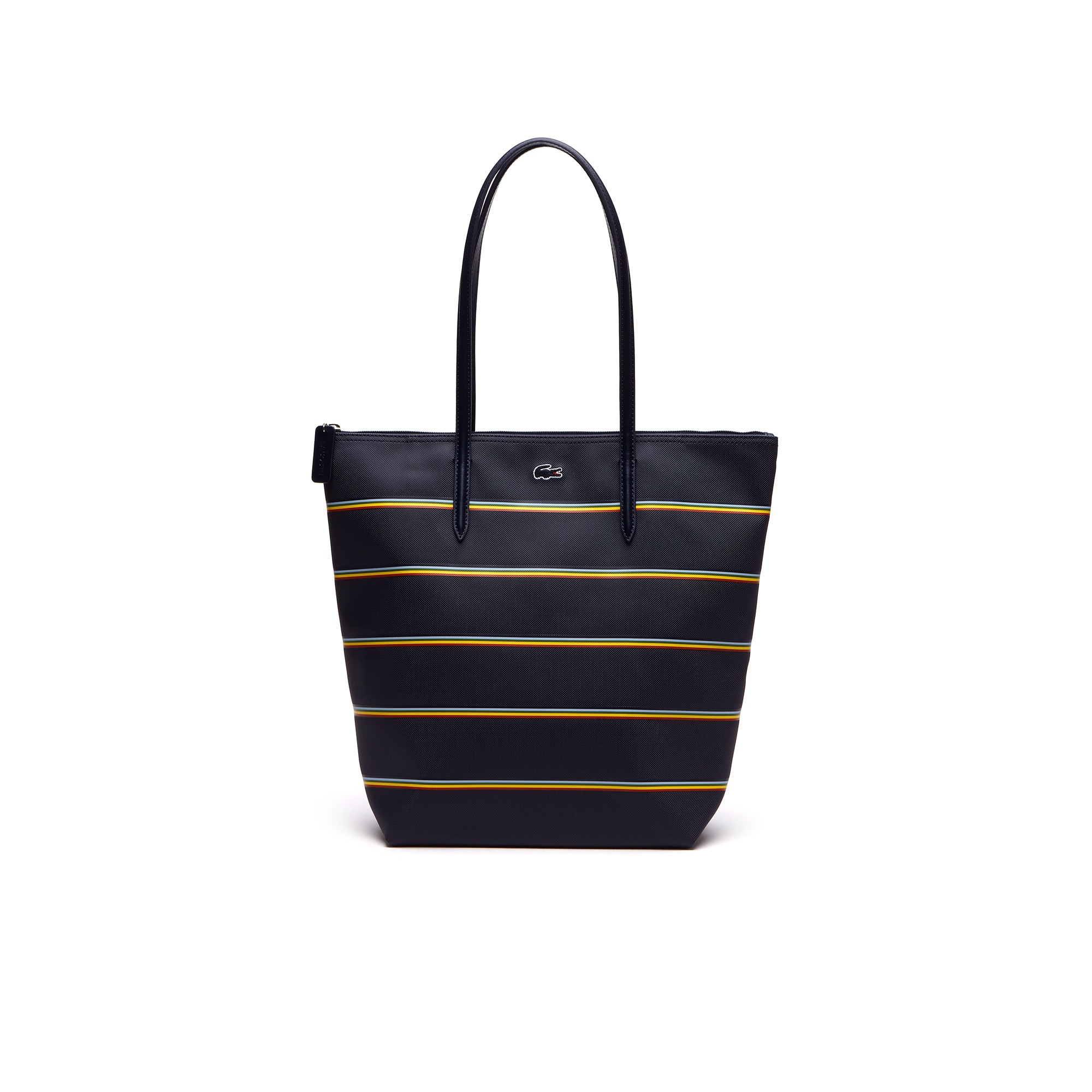 Shopping bag verticale con zip L.12.12 Concept a righe arcobaleno