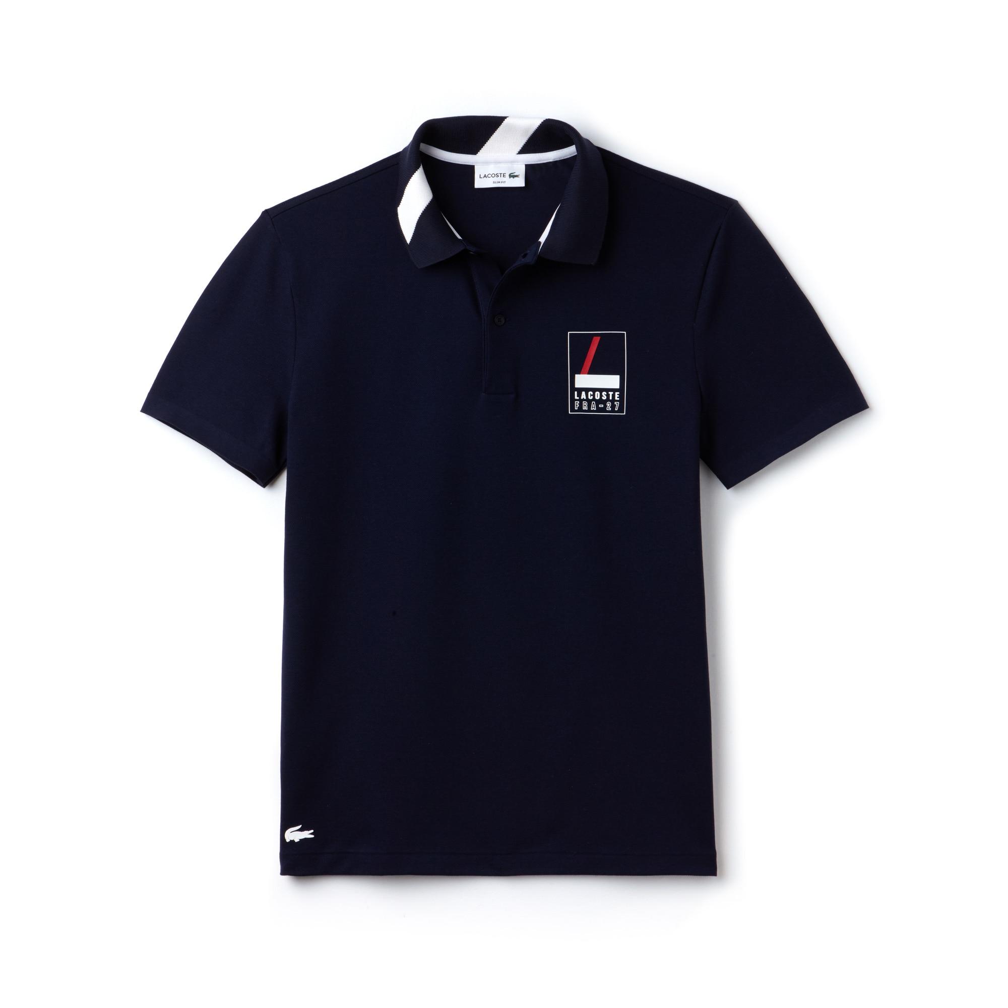 Polo slim fit Lacoste in mini piqué stretch con marchio