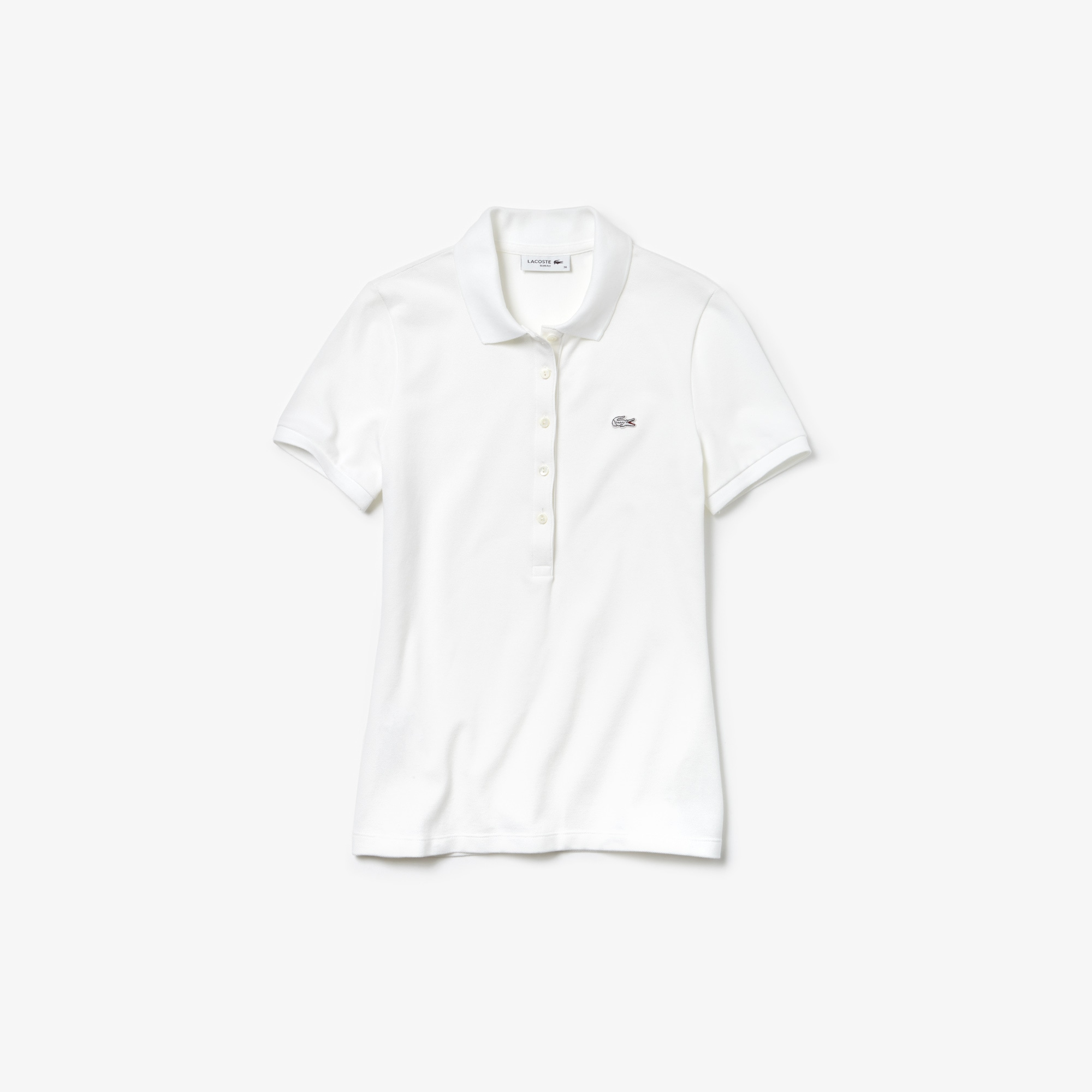 Polo slim fit Lacoste in mini piqué di cotone stretch tinta unita