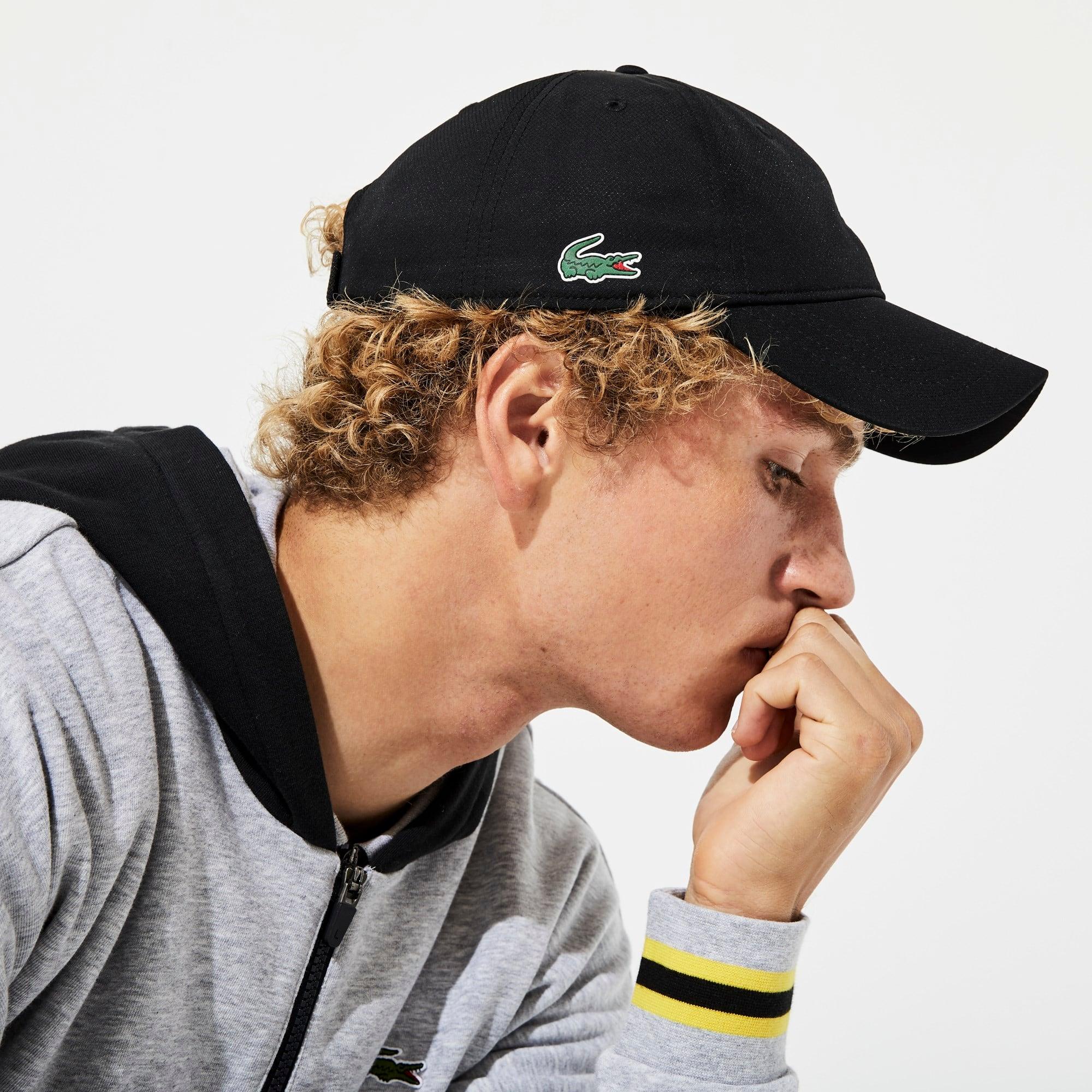 Berretto Lacoste Tennis in taffetà in tinta unita tessuto a rombi